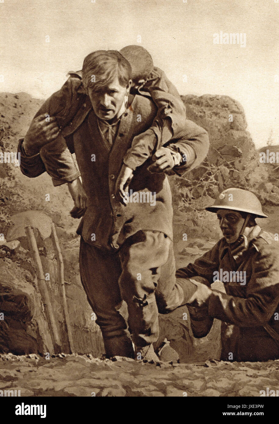 Carrying a wounded man under fire, WW1 - Stock Image