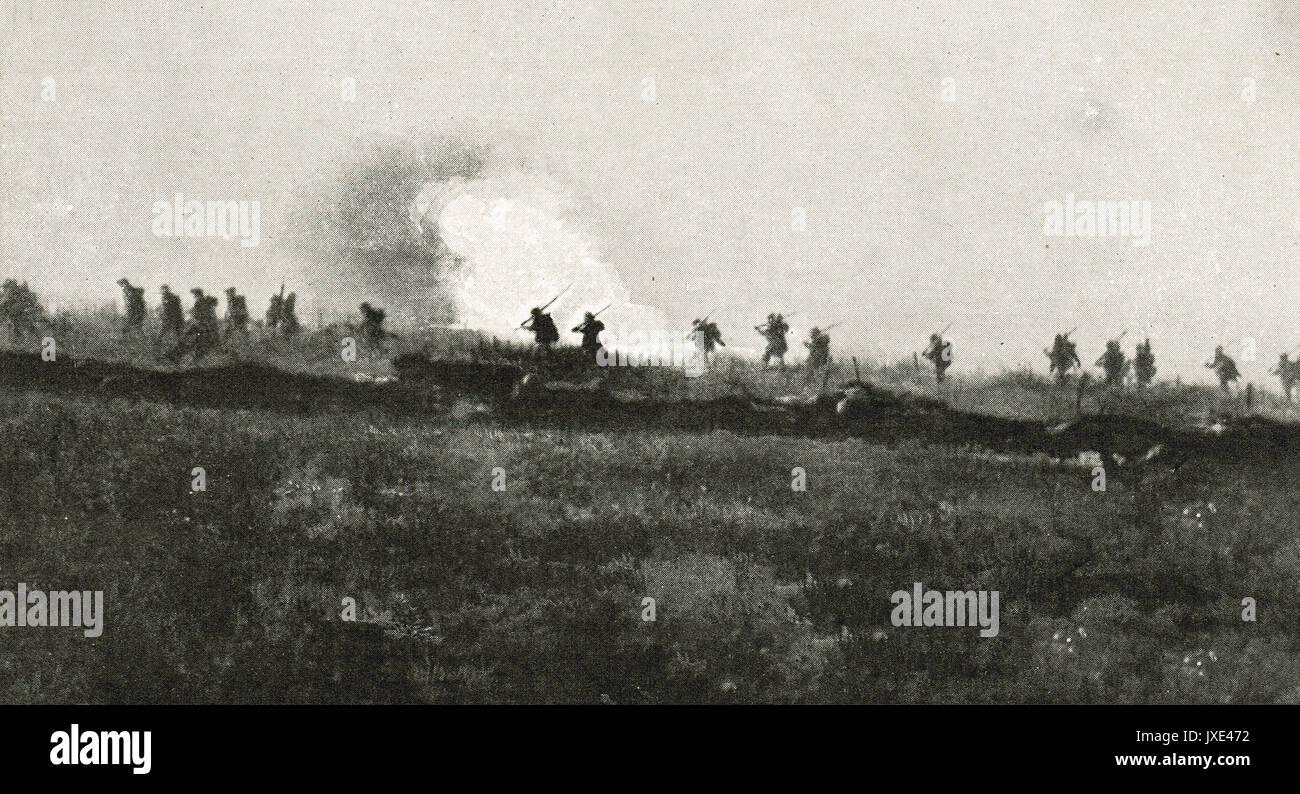 The assault on La Boisselle, 1916, WW1 Stock Photo