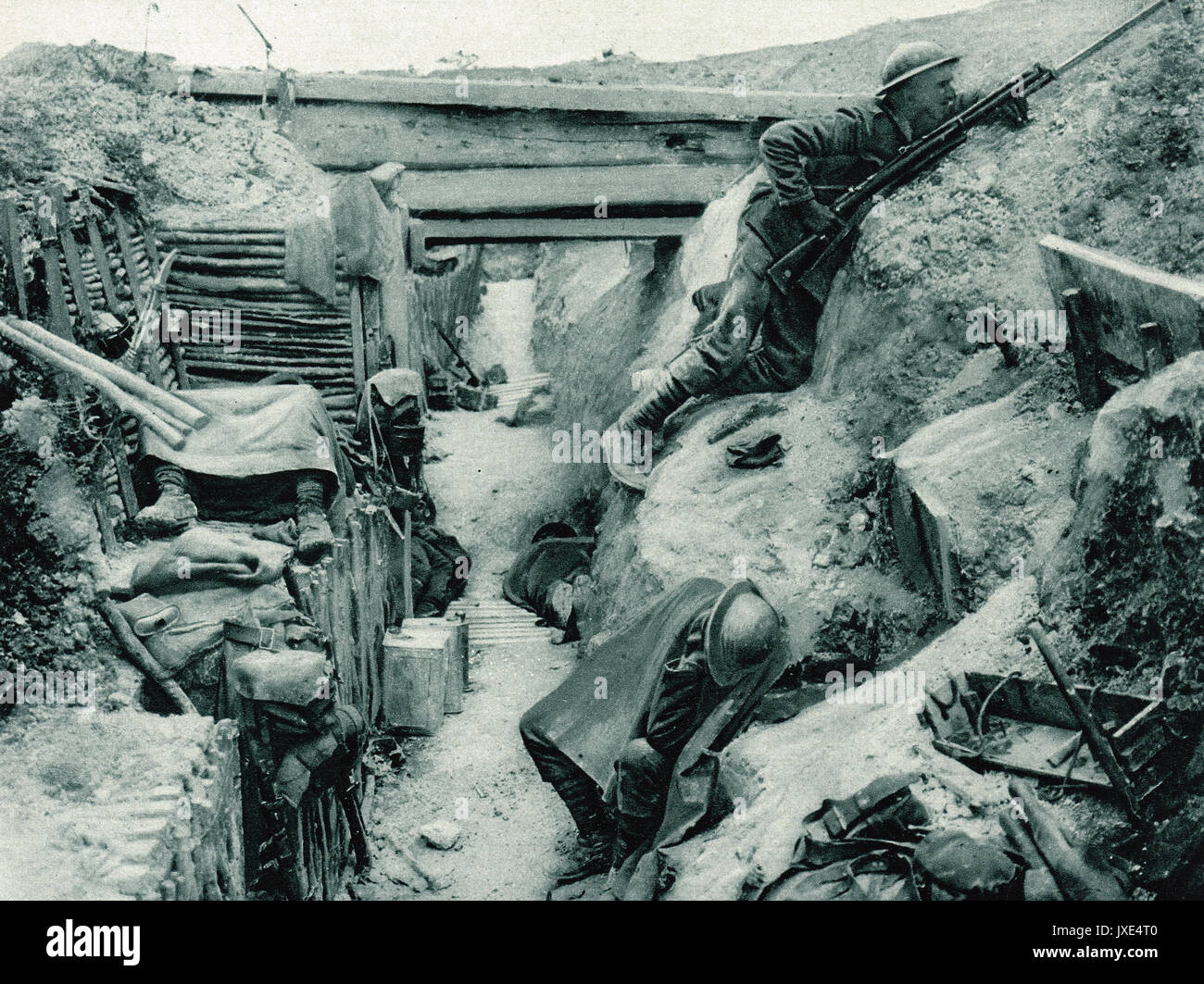 The lookout, trench at Ovillers, Somme, WW1 Stock Photo