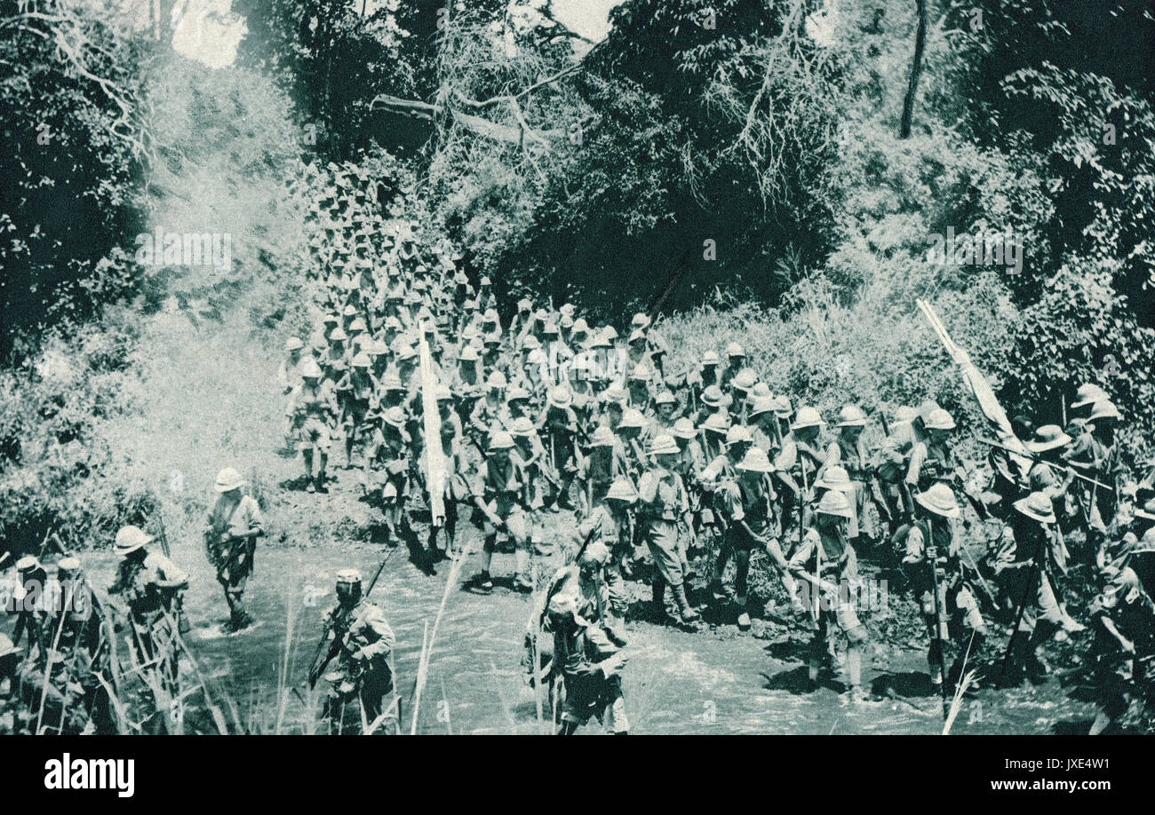 Troops under command of general Smuts crossing a river, East African Campaign, ww1 - Stock Image