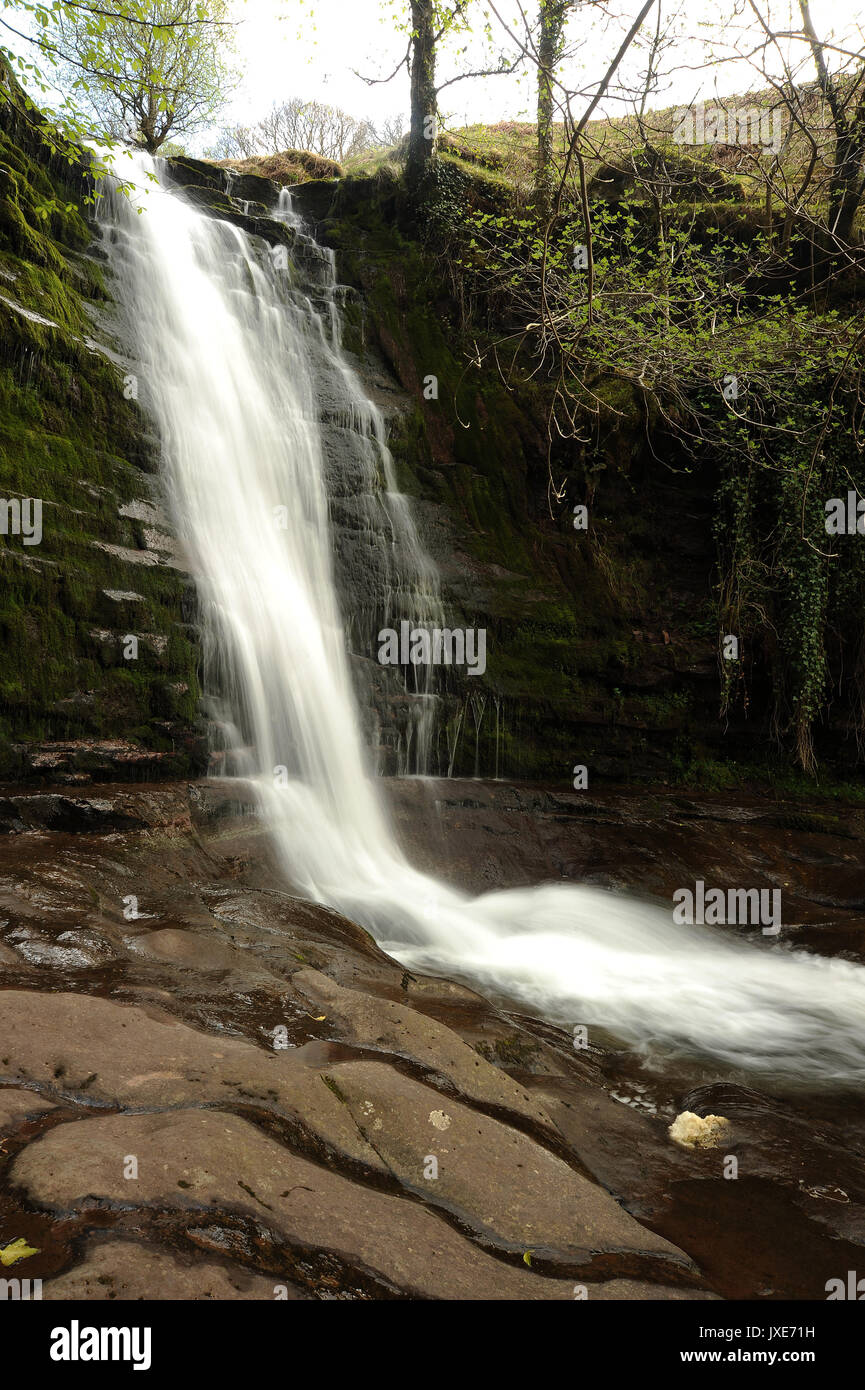 Main waterfall on the Afon Caerfanell. - Stock Image