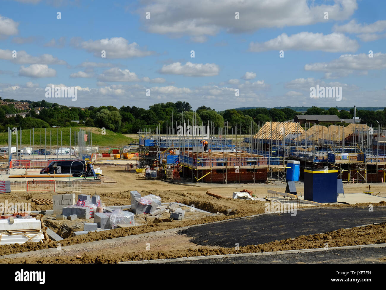 Building of new housing estate, Grantham, Lincs, UK - Stock Image
