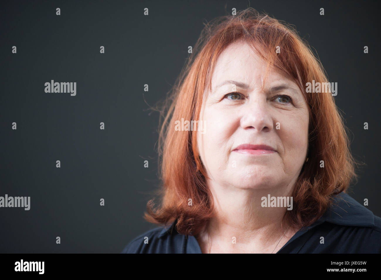 Edinburgh, UK. 16th Aug, 2017. Linda Grant novelist and journalist appearing at the Edinburgh International Book Stock Photo