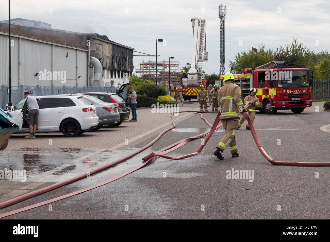 Southend on sea, Essex, UK. 16th August 2017. Airport Fire. A large fire has broken out at the Air Livery hangar Stock Photo