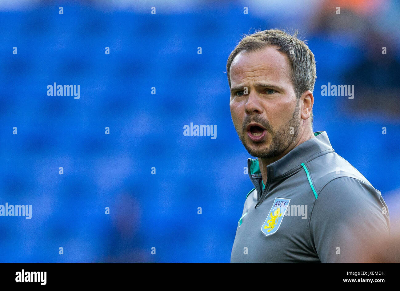 Reading, UK. 15th Aug, 2017. Aston Villa First Team Coach Stephen Clemence during the Sky Bet Championship match between Reading and Aston Villa at the Madejski Stadium, Reading, England on 15 August 2017. Photo by Andy Rowland/PRiME Media Images. **EDITORIAL USE ONLY FA Premier League and Football League are subject to DataCo Licence. Credit: Andrew Rowland/Alamy Live News - Stock Image