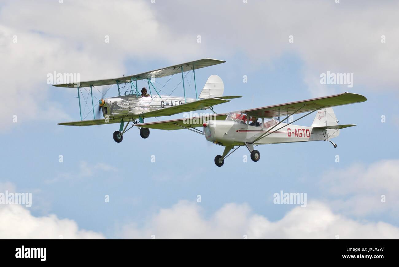 Blackburn b-2 flying with a Auster 5j1 at Shuttleworth - Stock Image