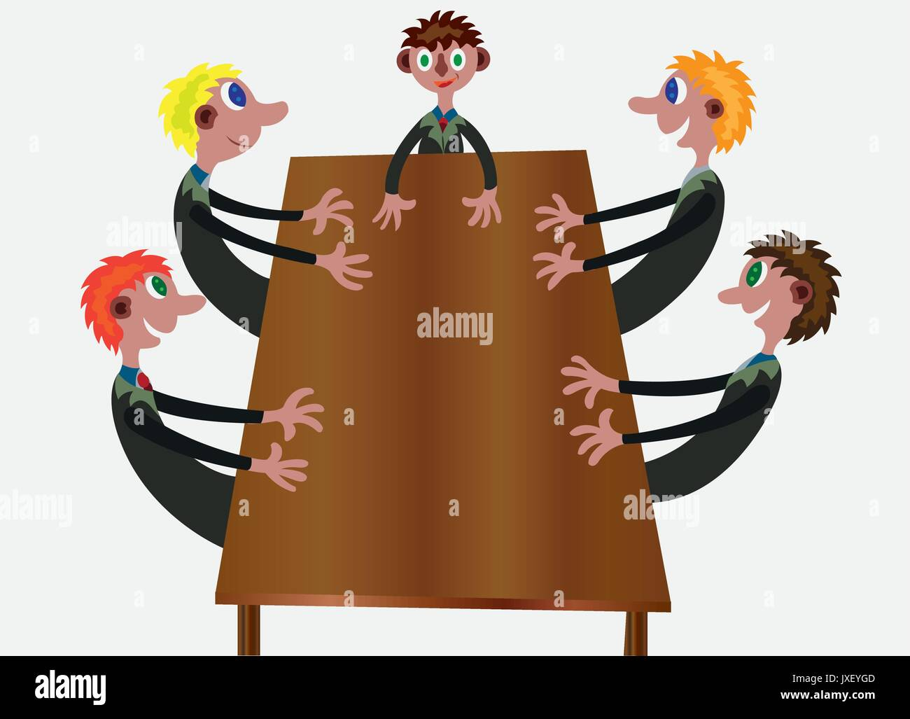 Board members in a meeting discussing important issues - Stock Vector