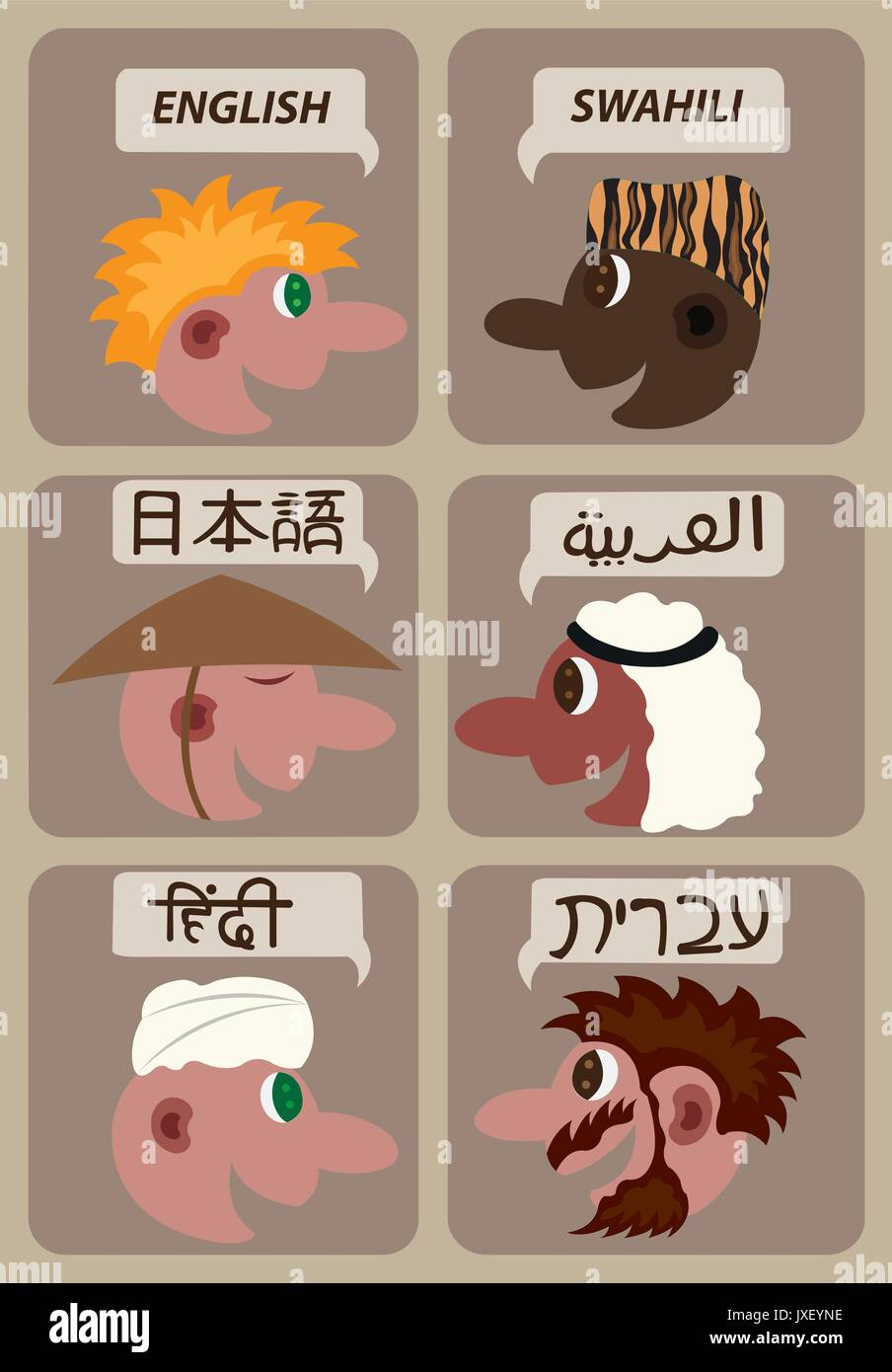 A sample of  the Languages of the world - Stock Image