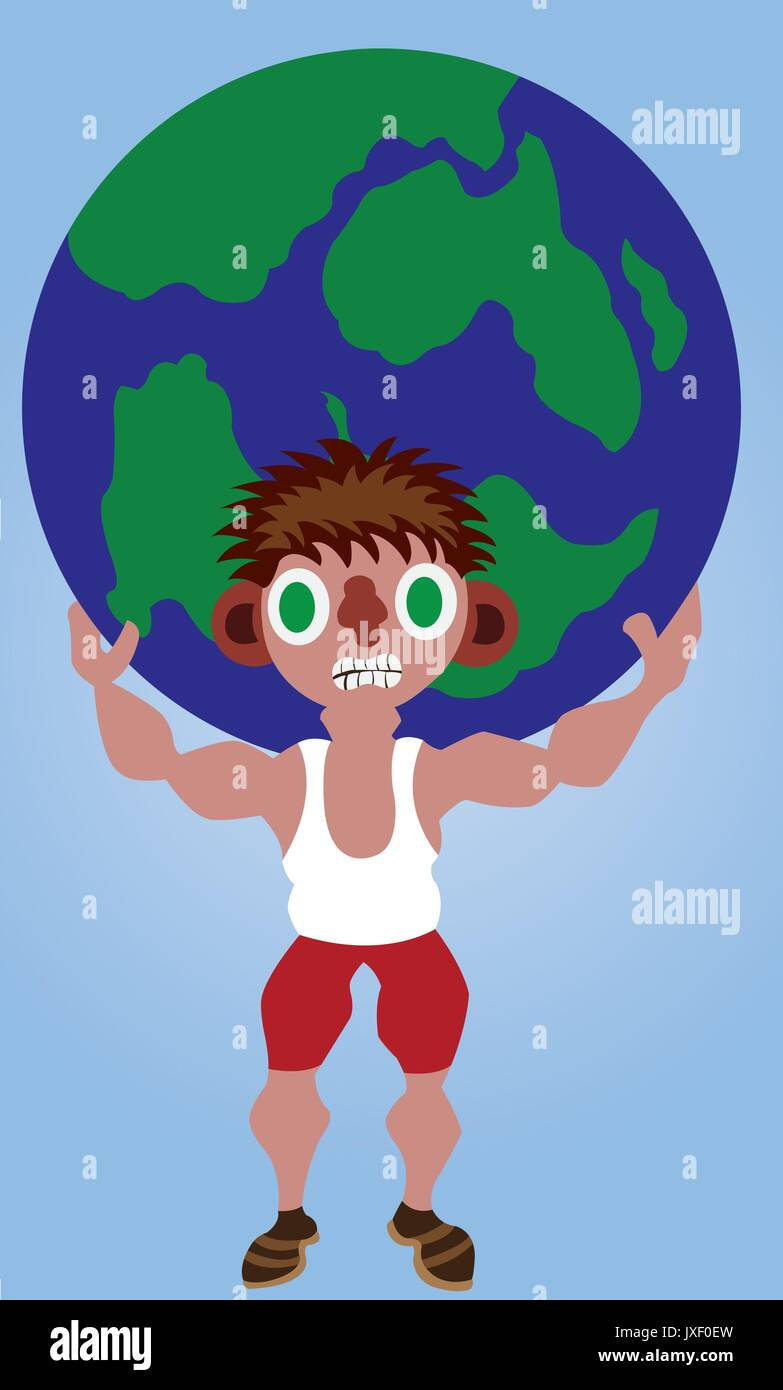 a man lifts a globe on his back - Stock Vector