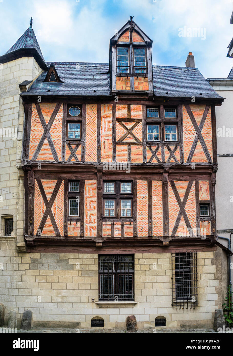 France, Pays De La Loire, Angers, Medieval Half Timbered House At Rue