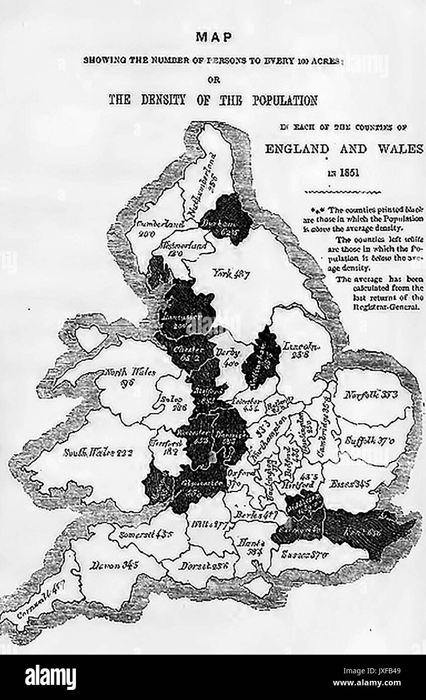 Victorian map (c1860) showing nationwide statistics for each county - Density of population - Stock Image