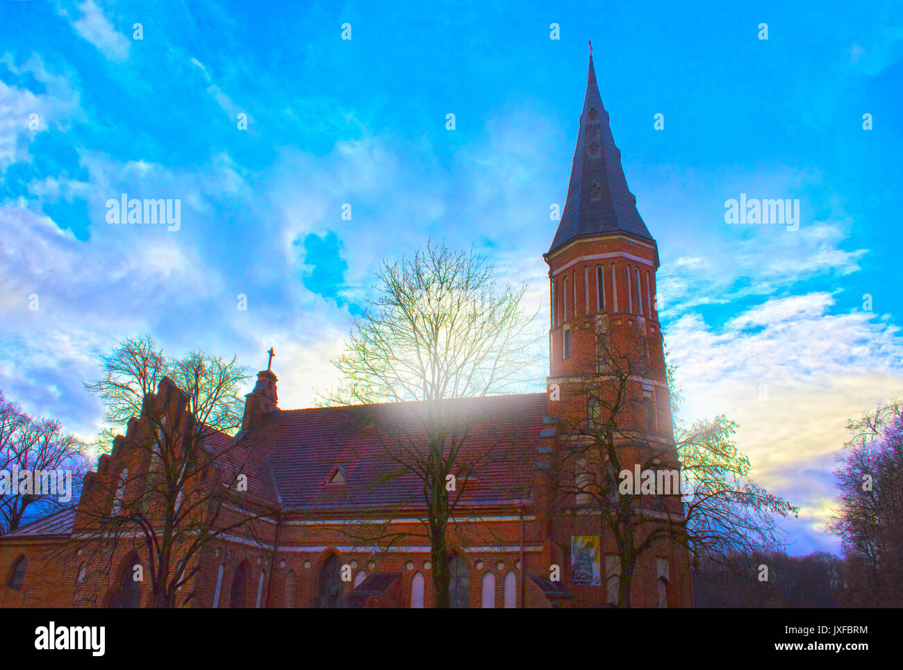 Church of Vytautas in old town. Kaunas, Lithuania - Stock Image