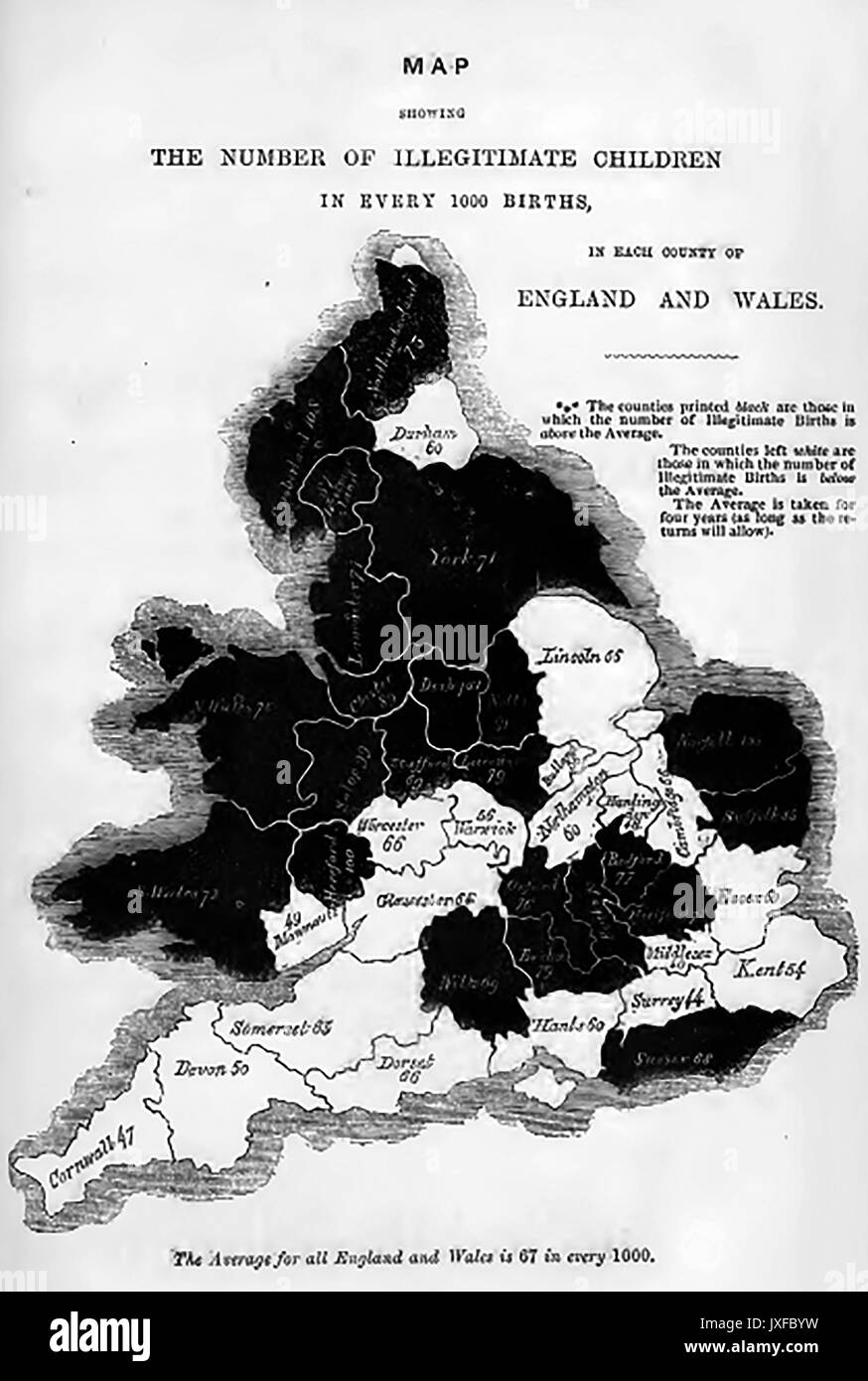 Victorian map (c1860) showing nationwide statistics for each county - Illegitimate births per 1000 - Stock Image