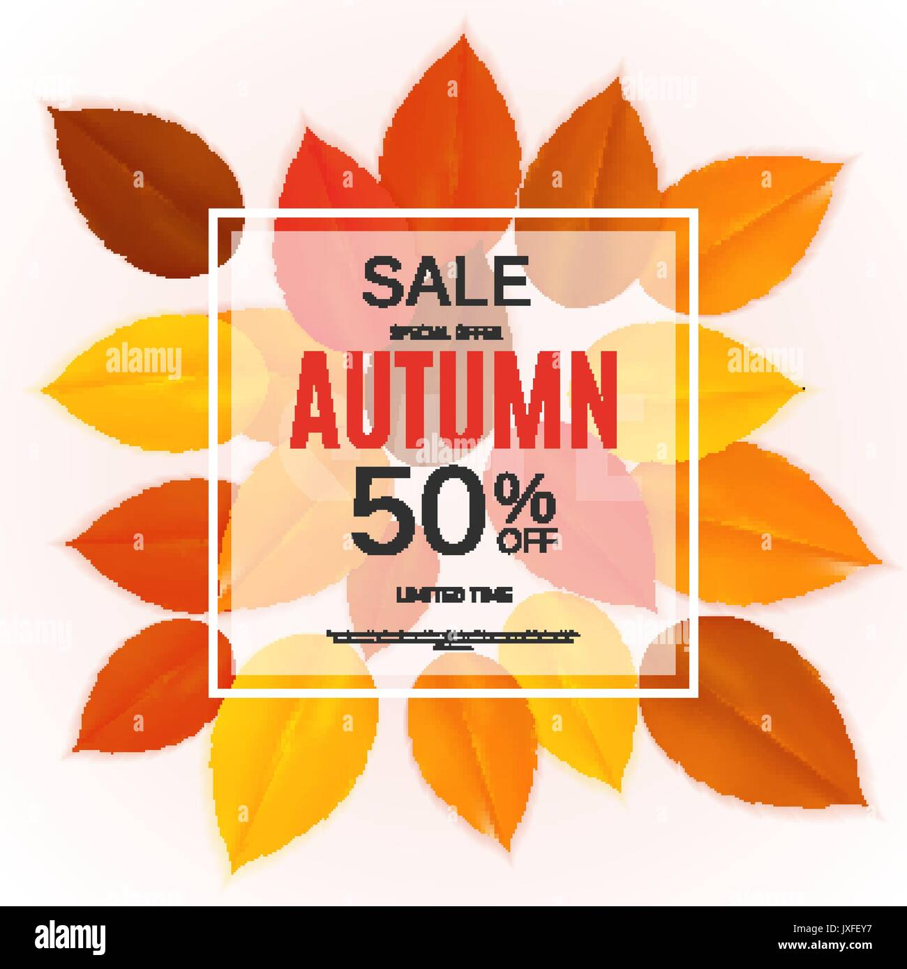 Shiny Autumn Leaves Sale Banner. Business Discount Card. Vector ...