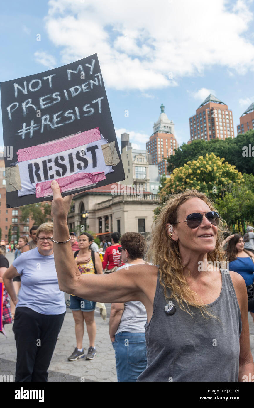 New York, NY, USA - New Yorkers gathered in Union Square to stand in solidarity with the people of Charlottesville, VA, condemn the Alt Right, fascism, Nationalism and President Donald Trump. The crowd included activists from Democratic Socialists, Black Lives Matter, the ACLU and other groups. ©Stacy Walsh Rosenstock/Alamy - Stock Image
