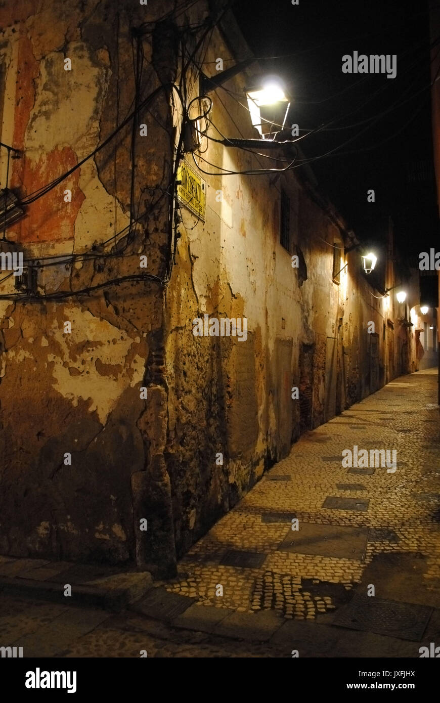 Degrading houses in the old town of Badajoz, Spain. - Stock Image