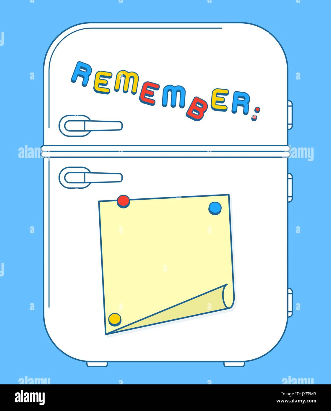 Fridge freezer door with magnets and reminder note with copy space. Vector illustration  sc 1 st  Alamy & Fridge freezer door with magnets and reminder note with copy space ...