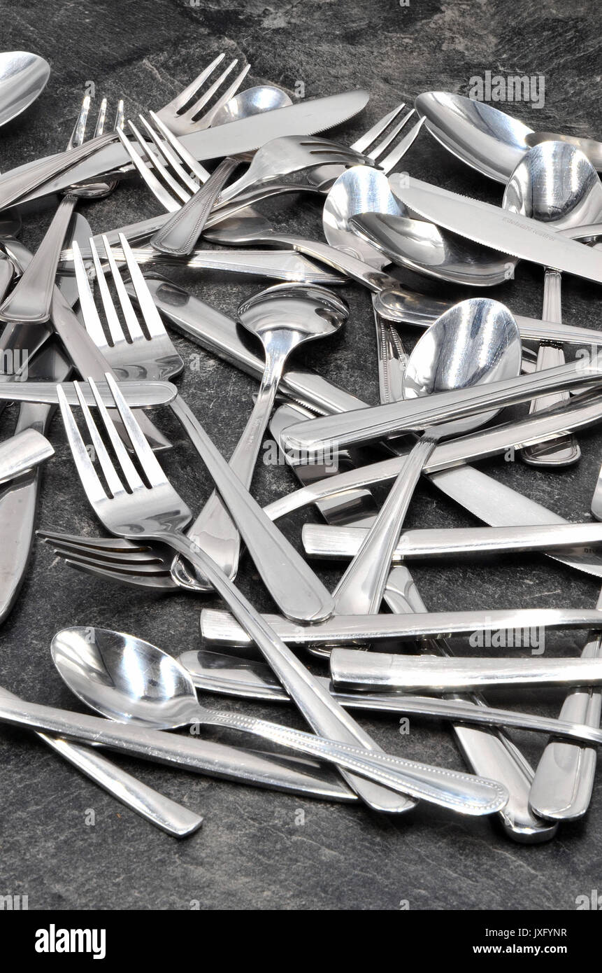cutlery spoon knife fork - Stock Image