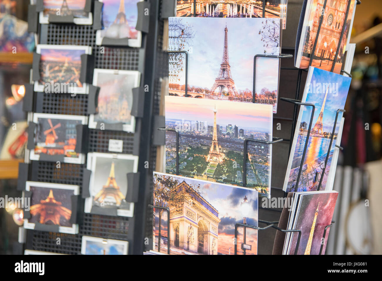 PARIS, FRANCE - JUNE 07, 2017: : Various postcards from Paris displayed at souvenir shop Stock Photo