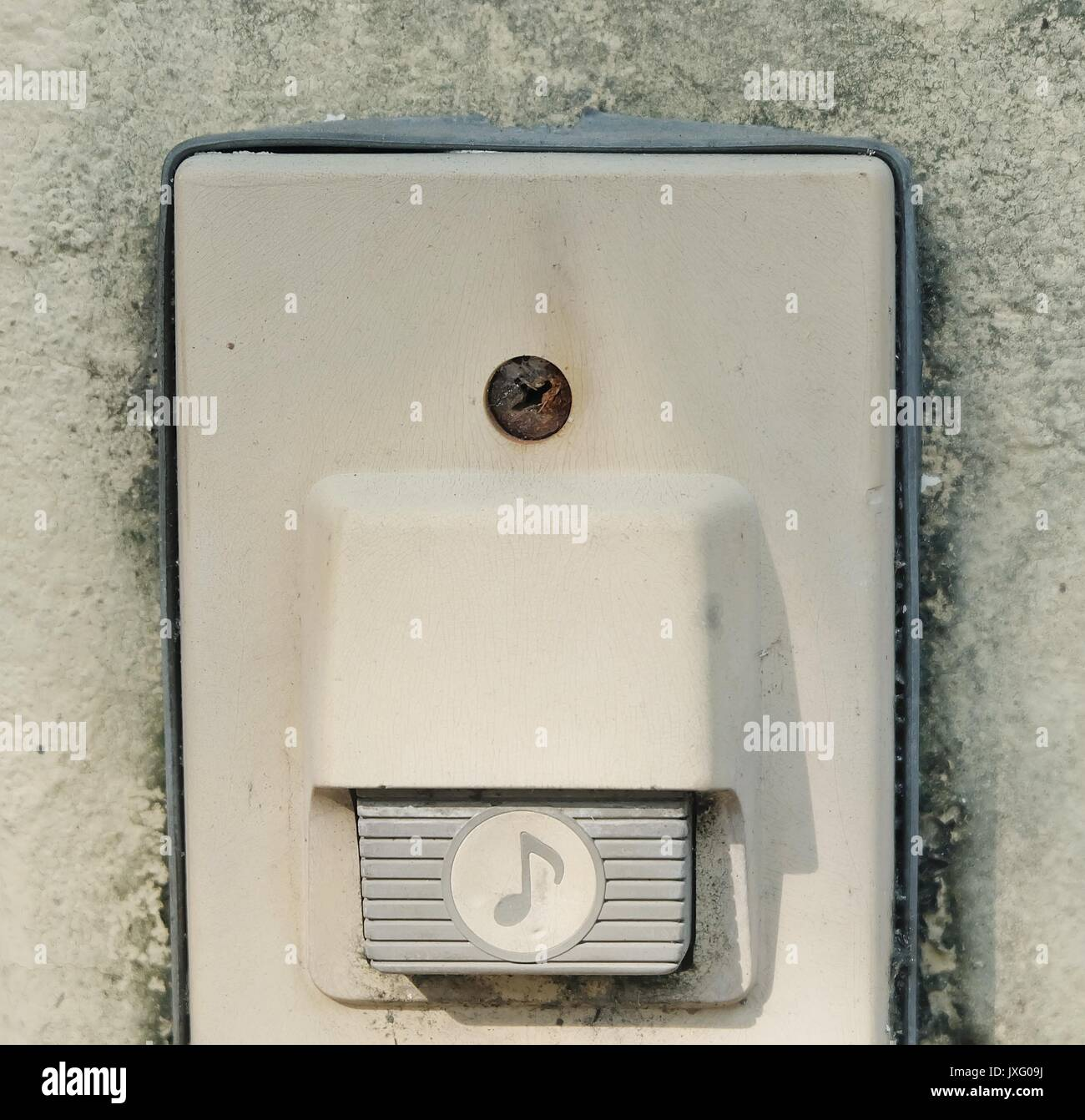 Eletronic Old Doorbell Chime Or Home Buzzer On The Wall Ringing Or Stock Photo Alamy