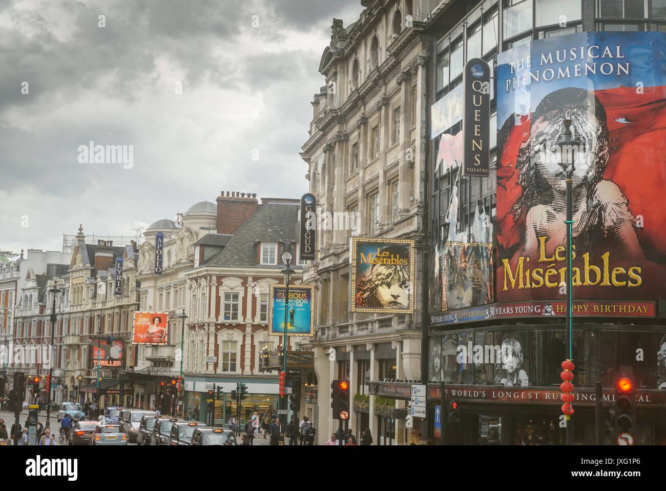 Shaftesbury Avenue - Theater district in West-End London, England - Stock Image