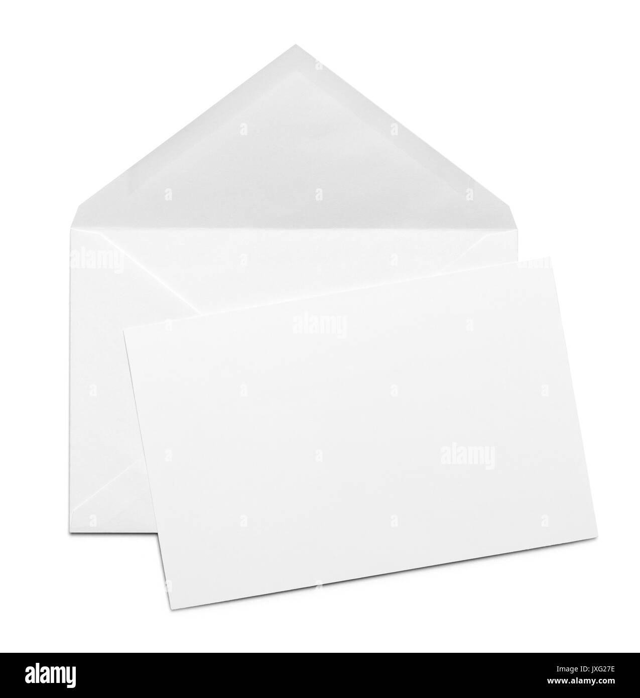 Open White Envelope with Card Isolated on White Background. - Stock Image
