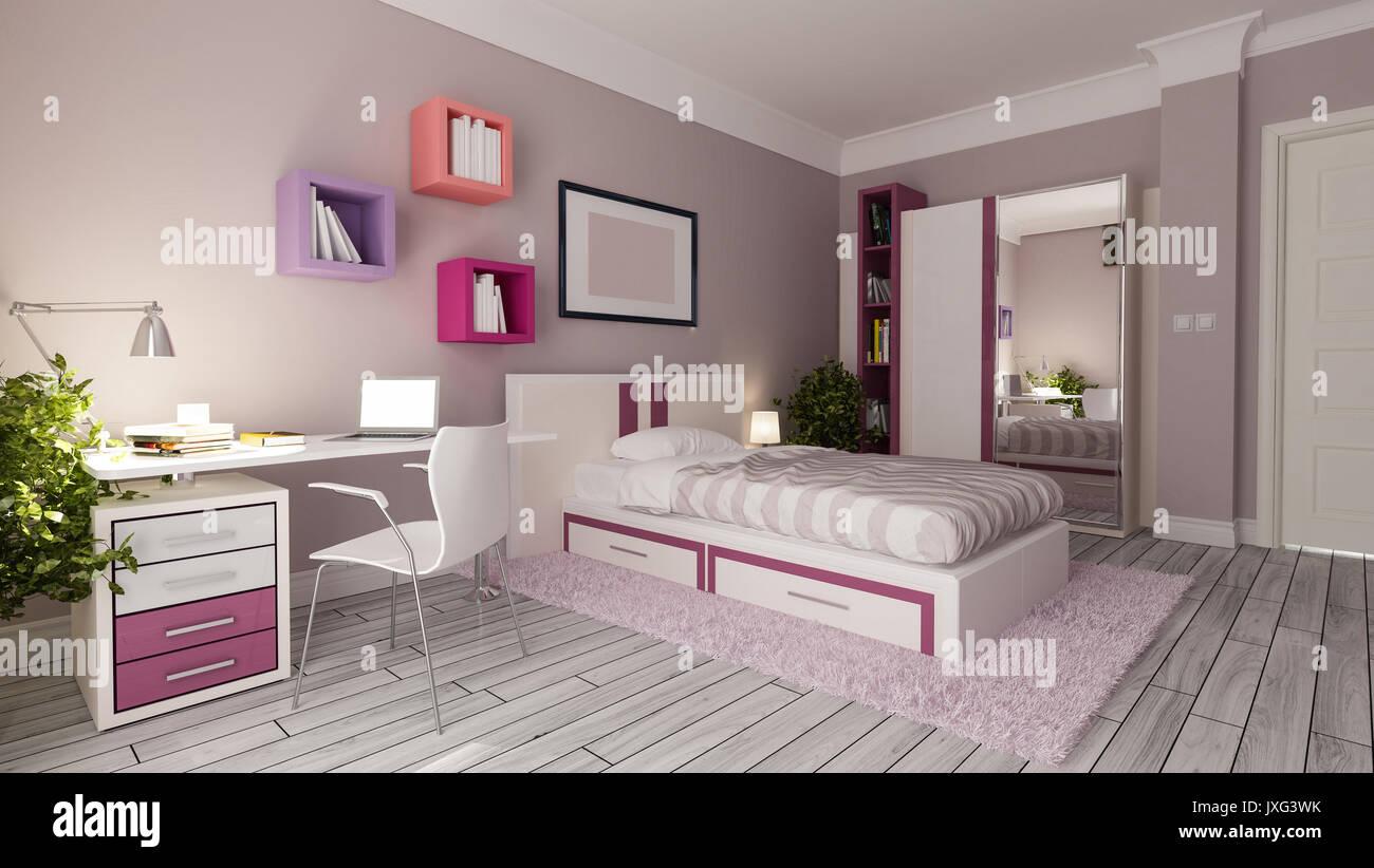Teen Girl Bedroom Interior Design Idea Stock Photo Alamy