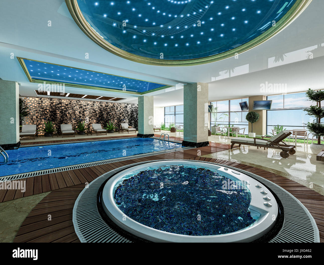 Indoor Swimming Pool Jacuzzi And Wooden Deck Relax Design Idea - Indoor-swimming-pool-design-ideas