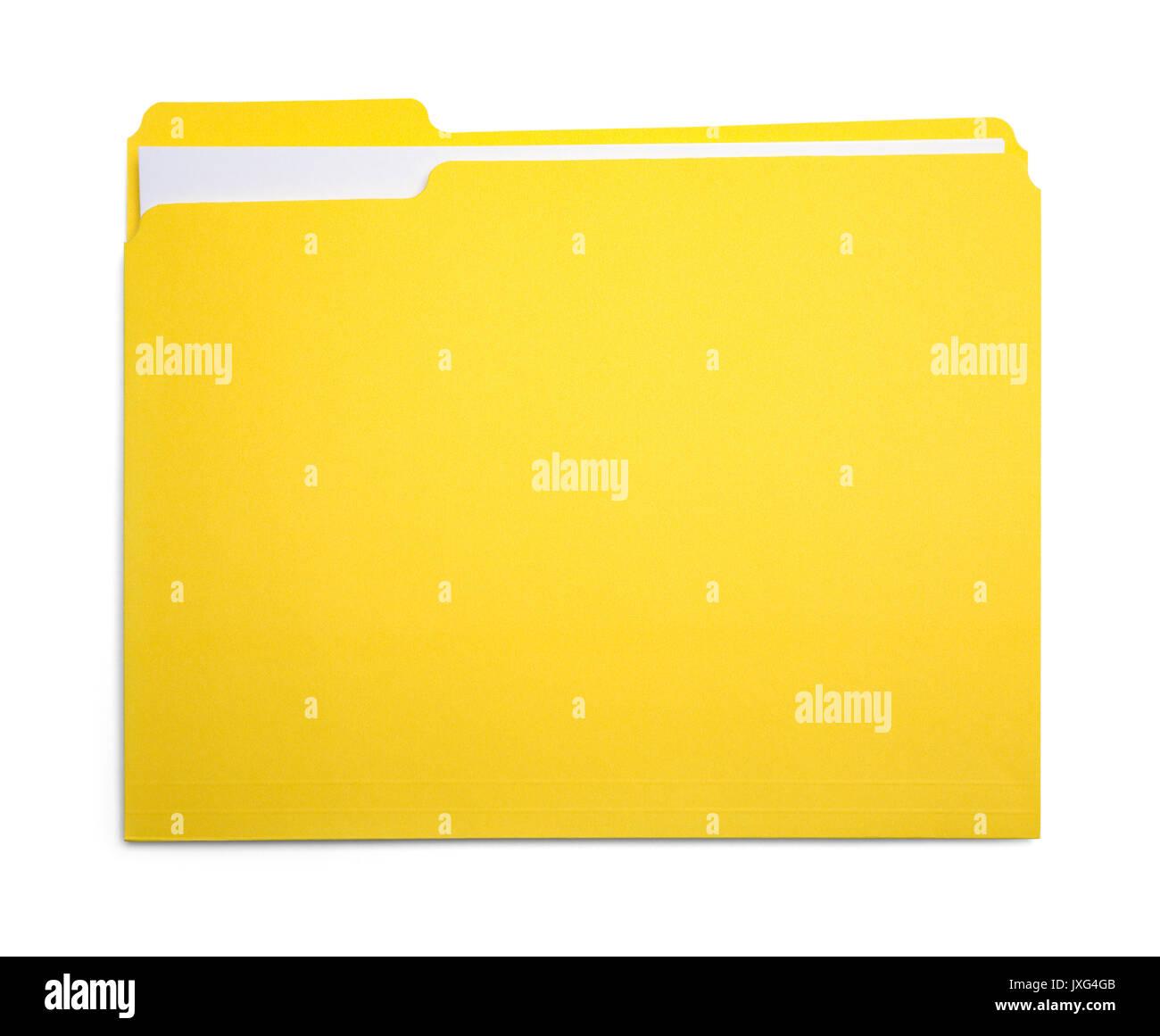 Closed Yellow File Folder Isolated on White Background. - Stock Image