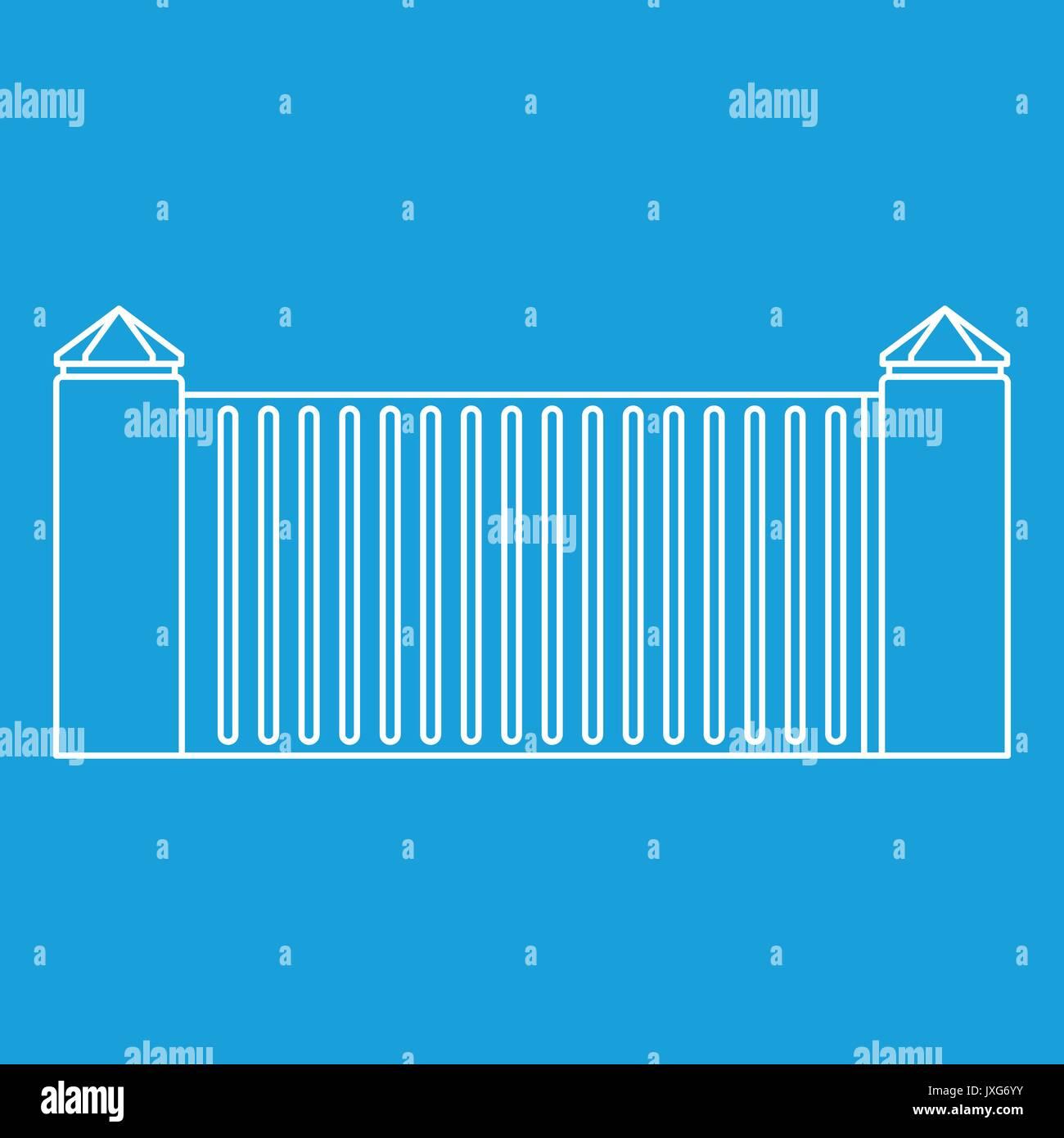 Stone fence icon, outline style - Stock Image