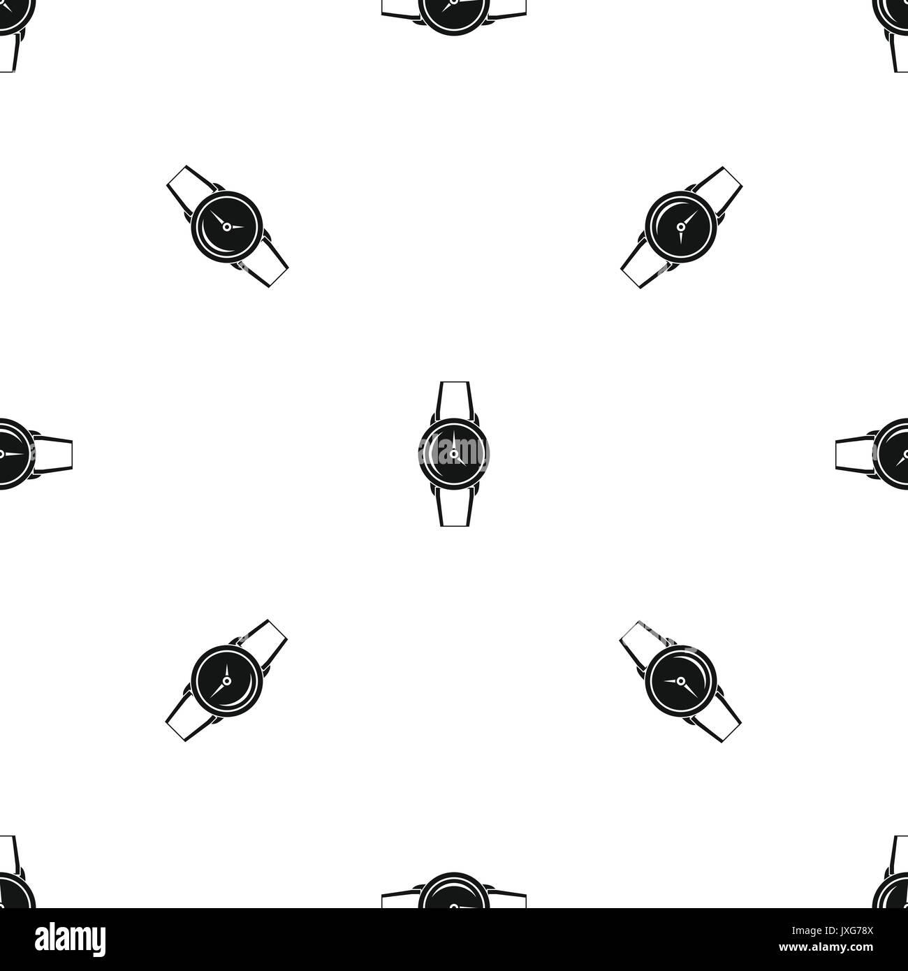 Wristwatch pattern seamless black - Stock Image