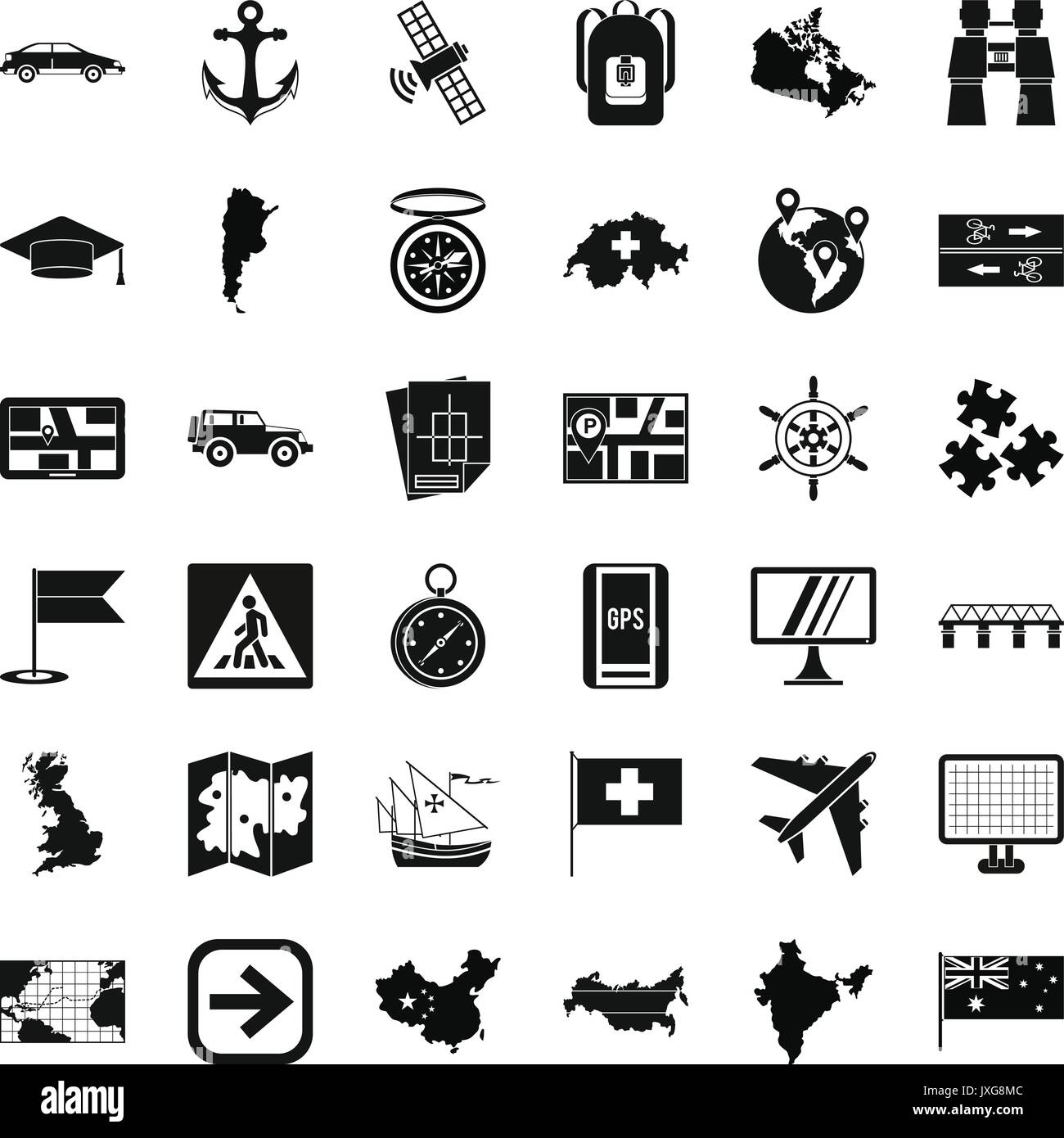 Cartography icons set, simple style - Stock Image