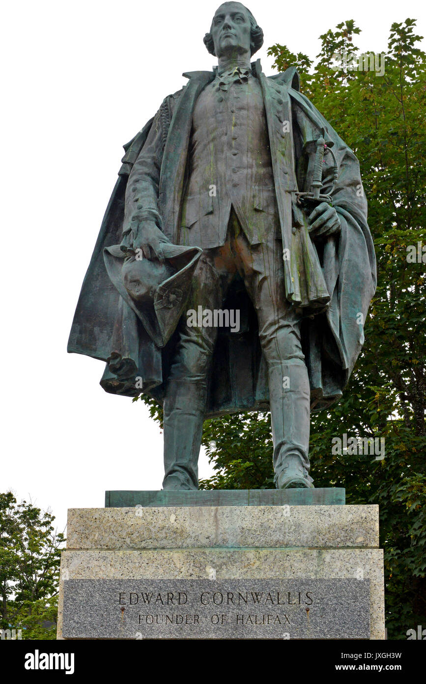 Halifax, Nova Scotia, Canada:  The statue of Edward Cornwallis, the founder of Halifax. Many want the monument taken down as he had offered a bounty o - Stock Image