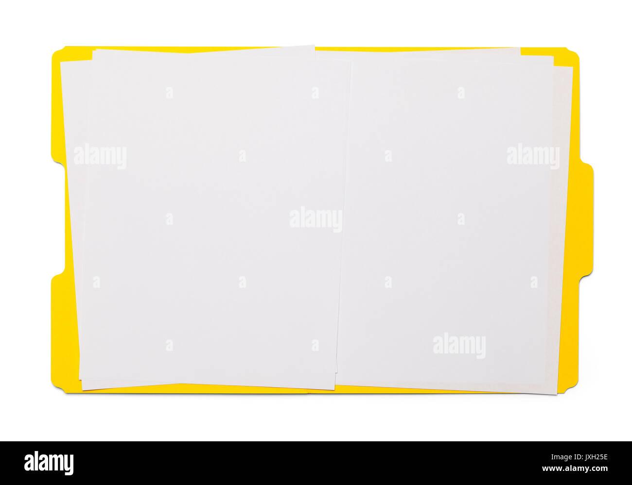 Open Yellow Folder Isolated on White Background. - Stock Image