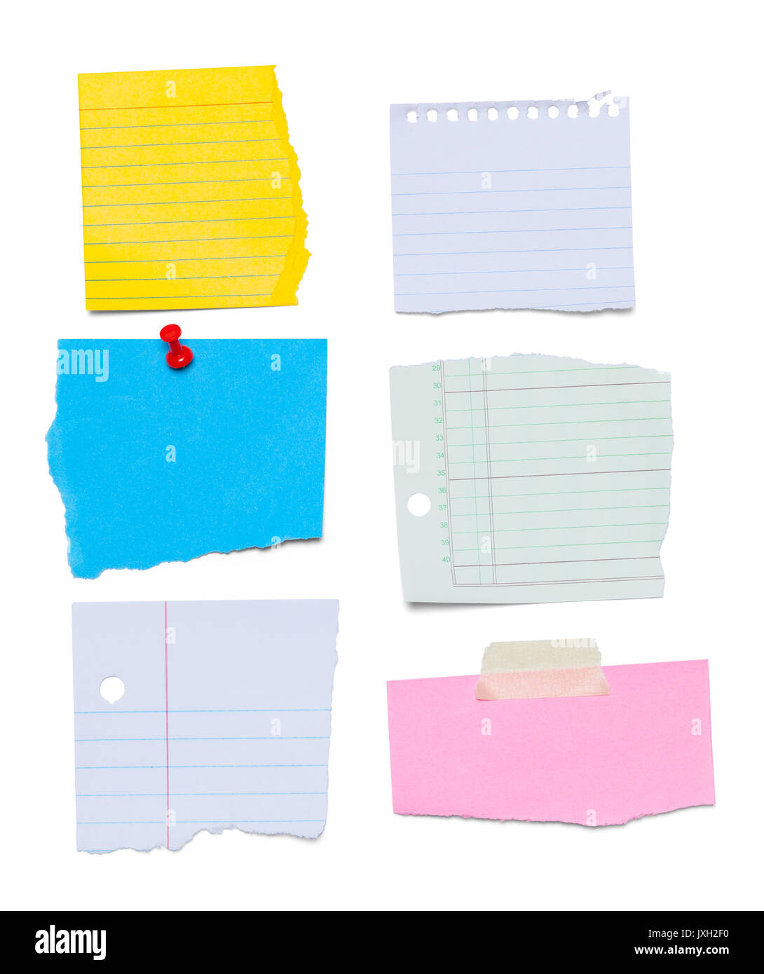 Torn Paper Note Scraps Isolated on White Background. - Stock Image