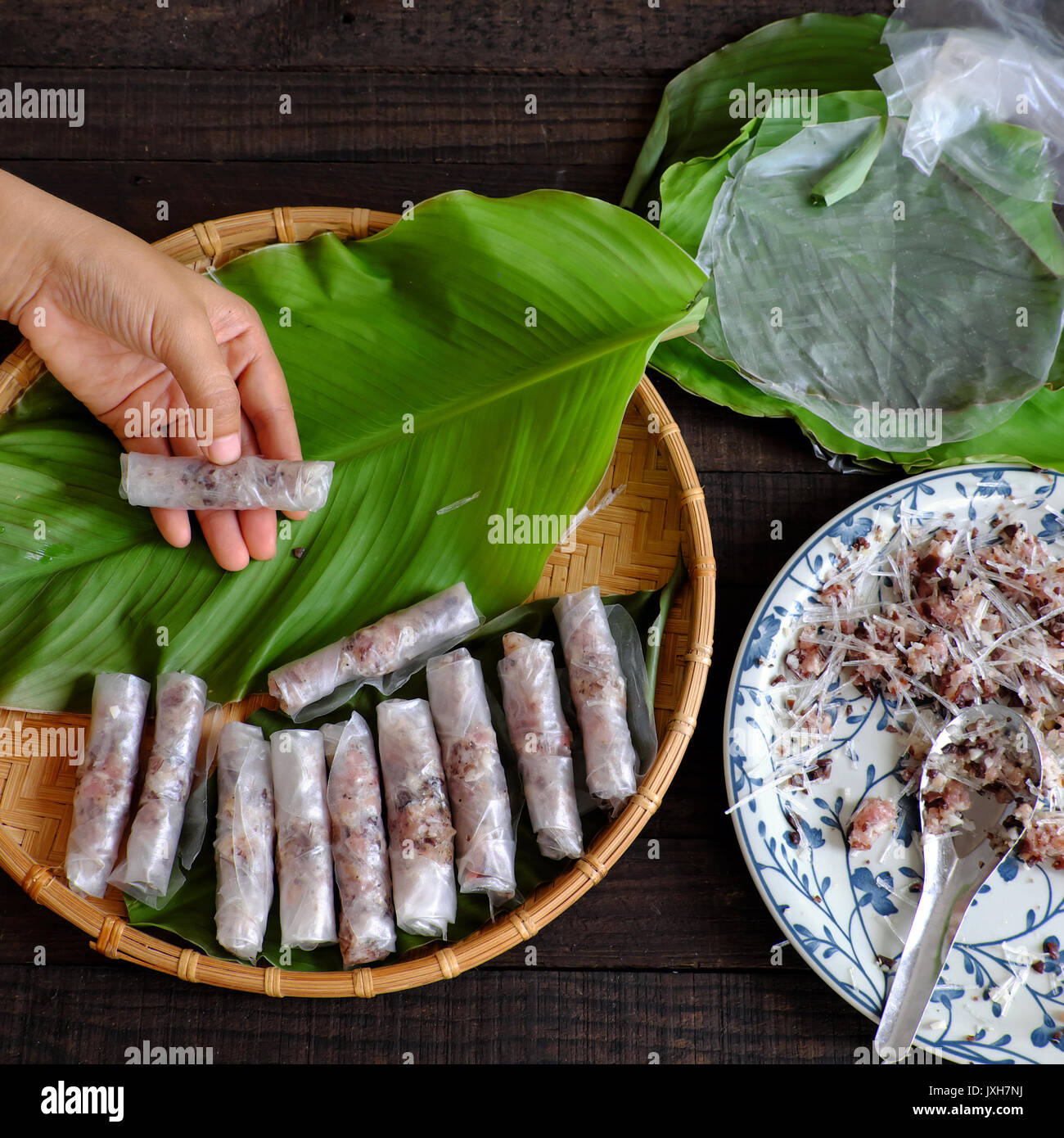 Woman making spring rolls or cha gio at home, homemade food stuffing from meat and wrapper by rice paper, hand rolling Vietnamese egg roll on green - Stock Image