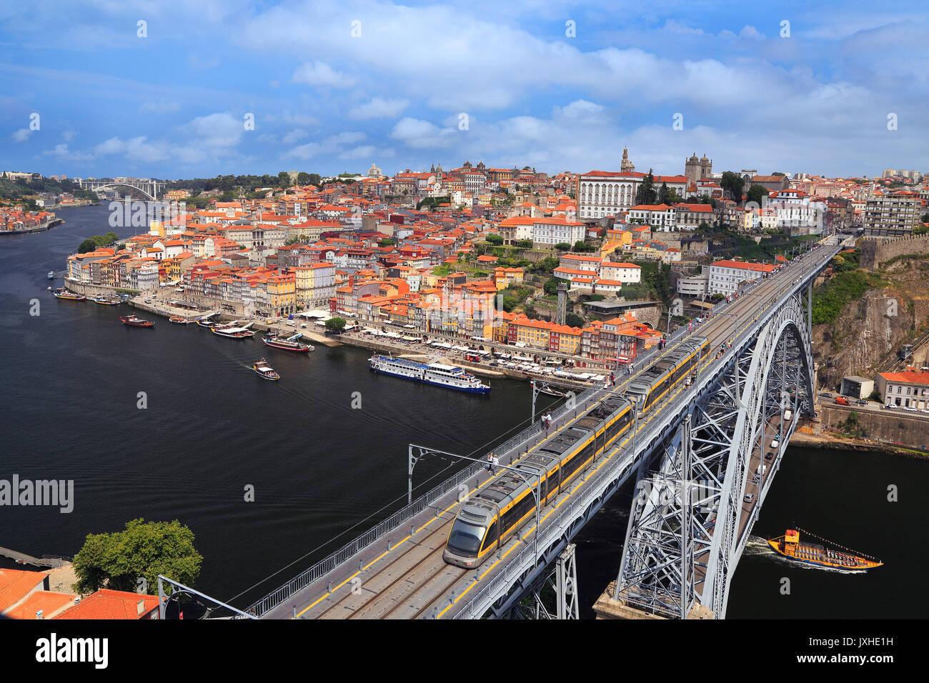 Porto skyline, Dom Luis I Bridge and Douro River in Portugal - Stock Image
