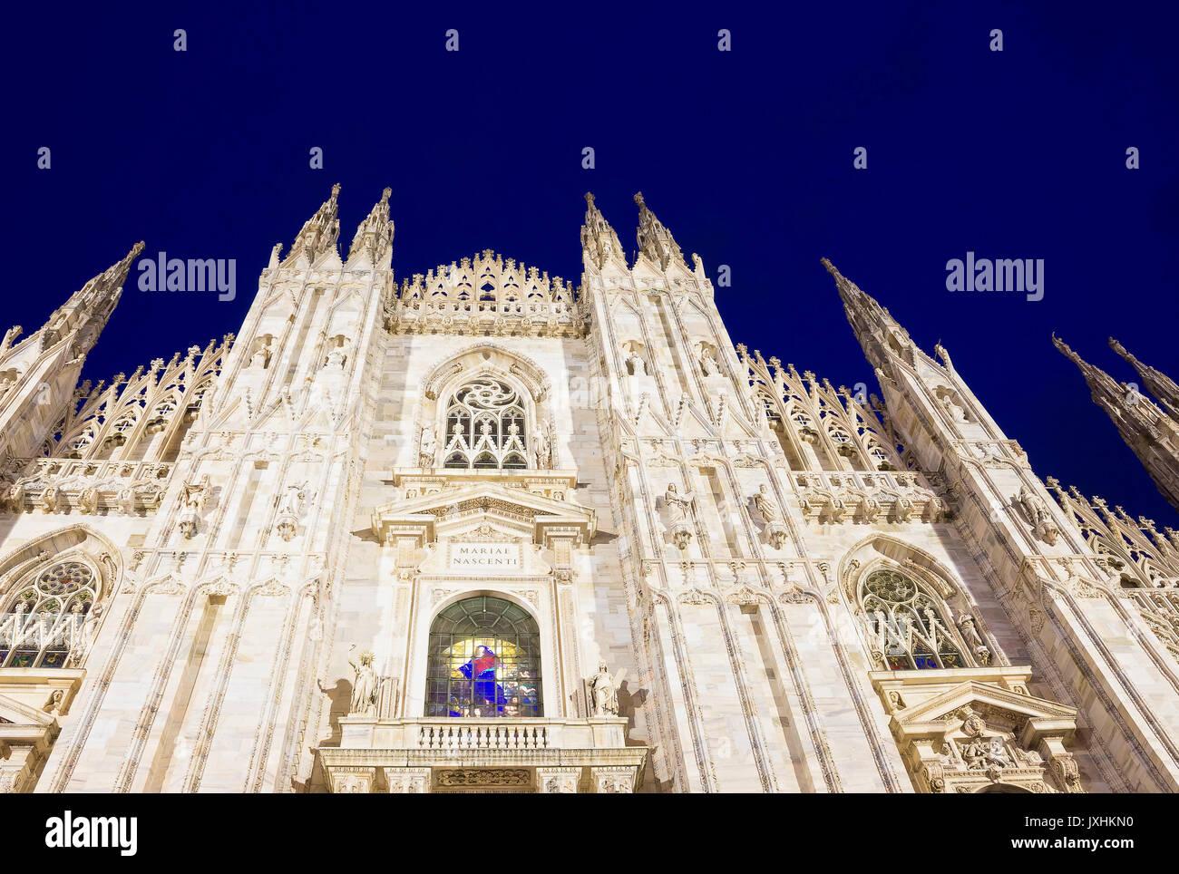 Night view of Milan Cathedral or Duomo di Milano - Stock Image