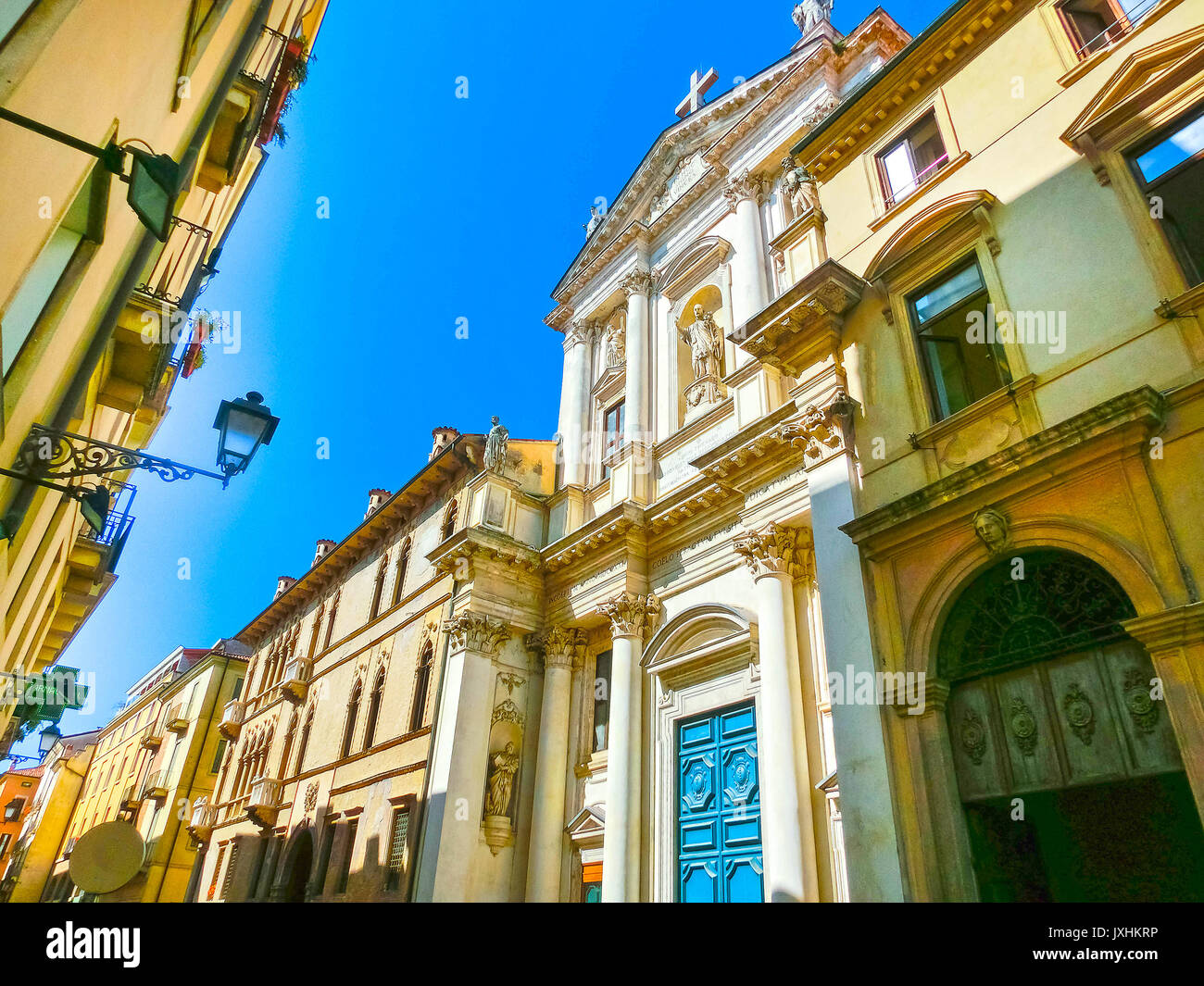 The view of famous Basilica at Piazza Dei Signori in Vicenza, Veneto, Italy - Stock Image