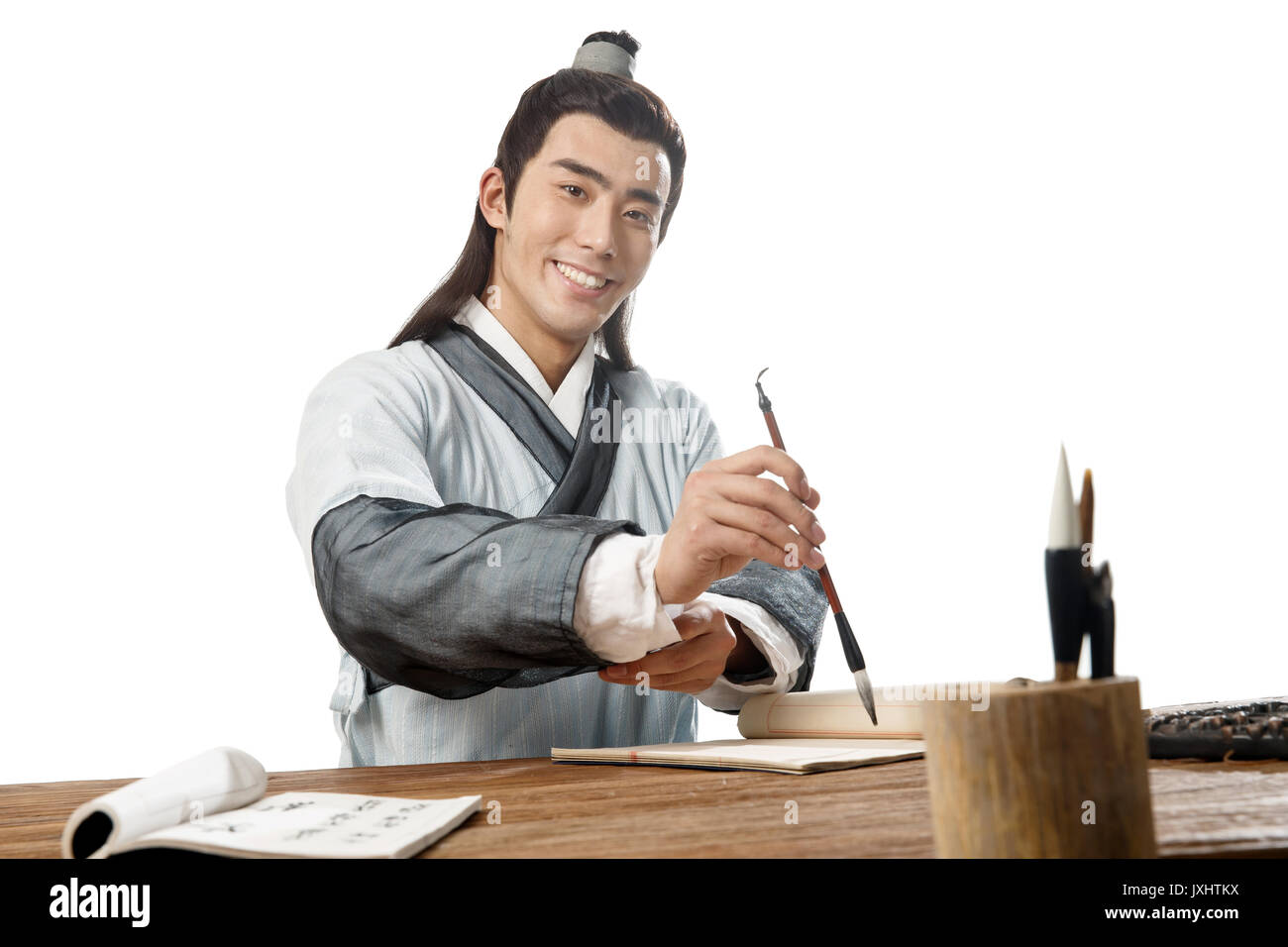 A scholar dressed in ancient costume - Stock Image