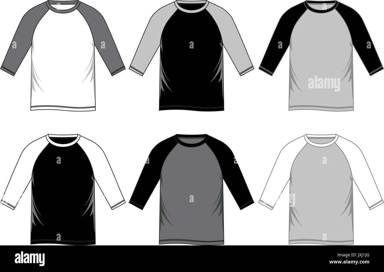 T Shirt Template Raglan Stock Vector Image Art Alamy