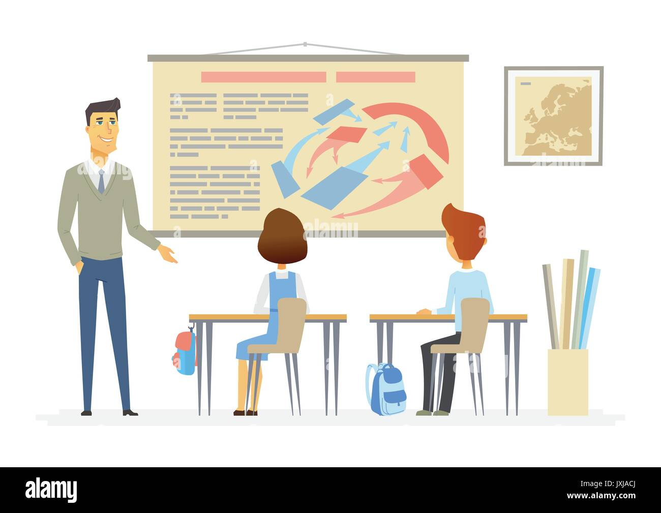 History lesson at school - modern cartoon people characters illustration - Stock Image