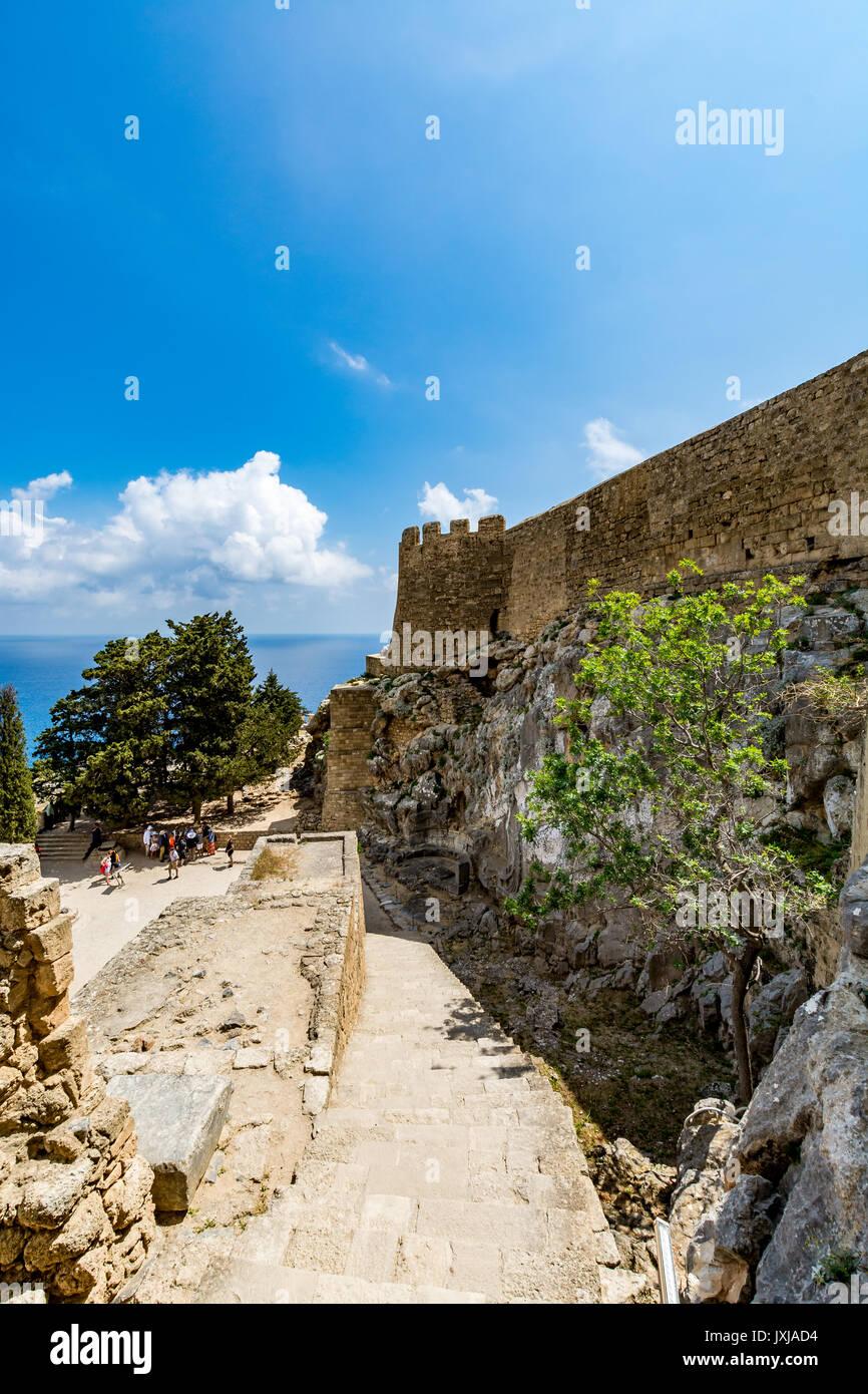 Main entrance to Lindos castle, Rhodes island, Greece Stock Photo