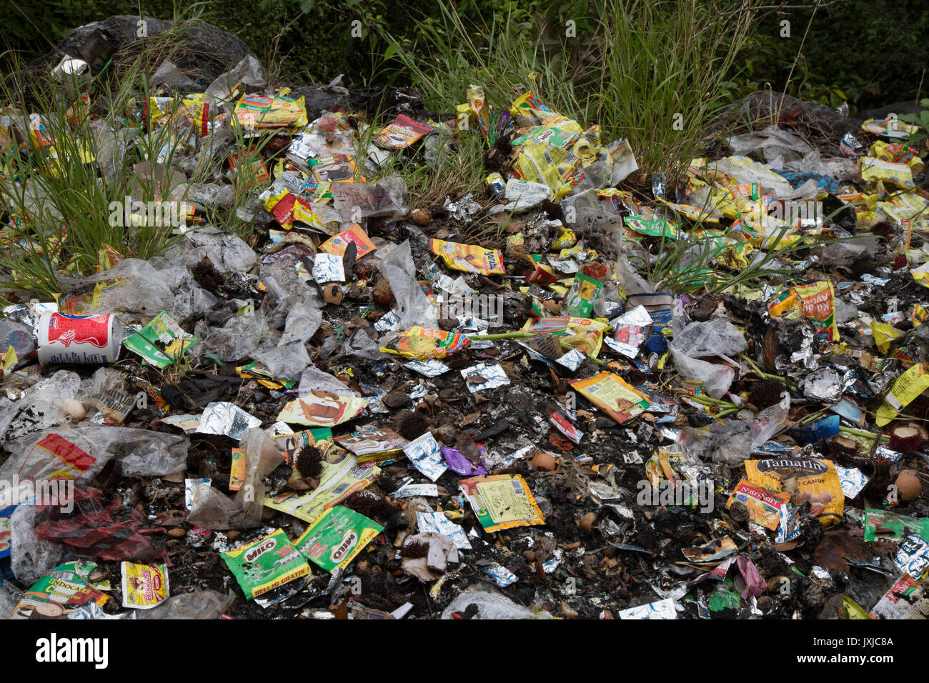 Plastic wrappers and other garbage discarded down bank - Stock Image