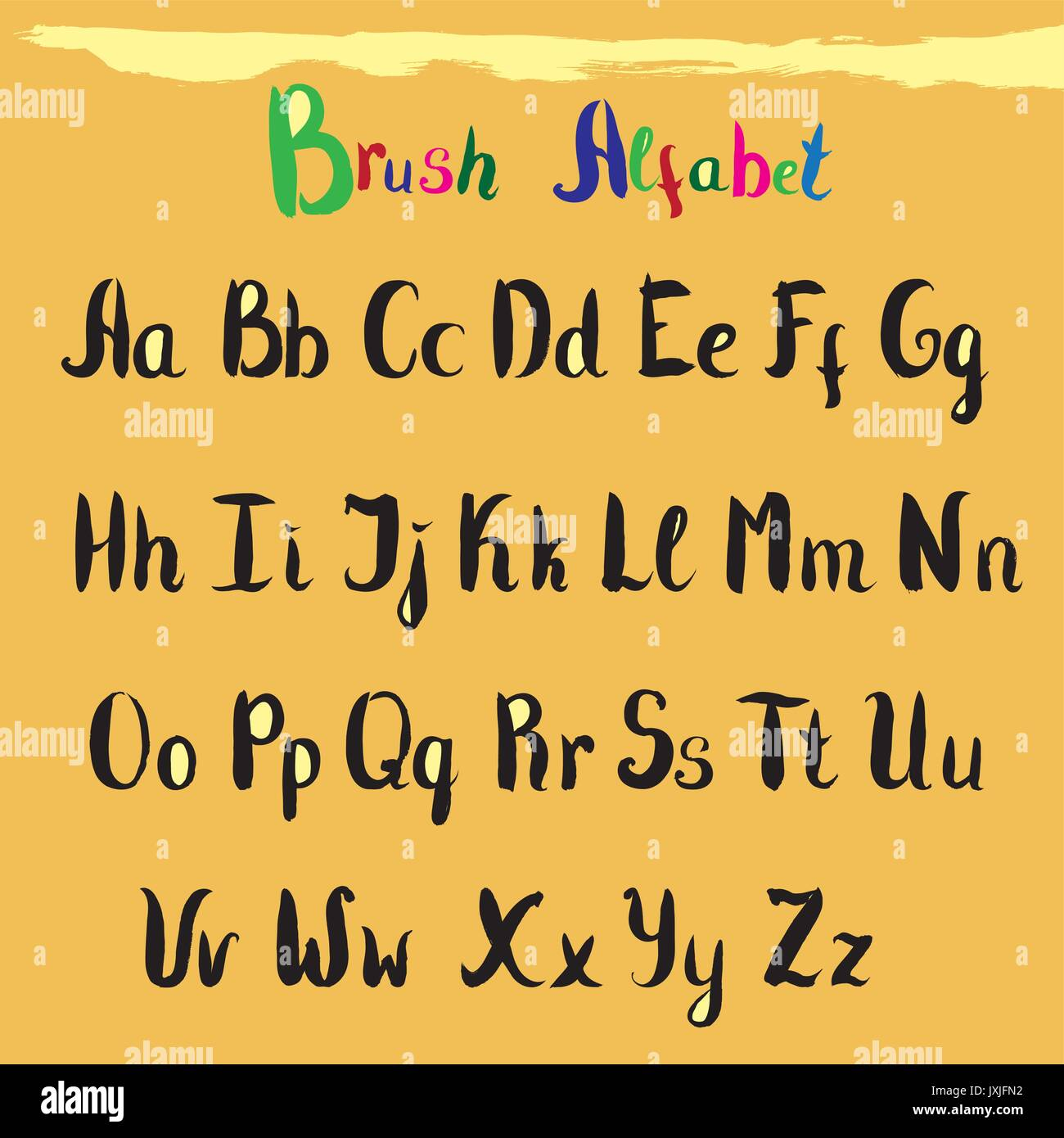 Hand drawn font. Handwritten alphabet letters and numbers. Vector - Stock Vector