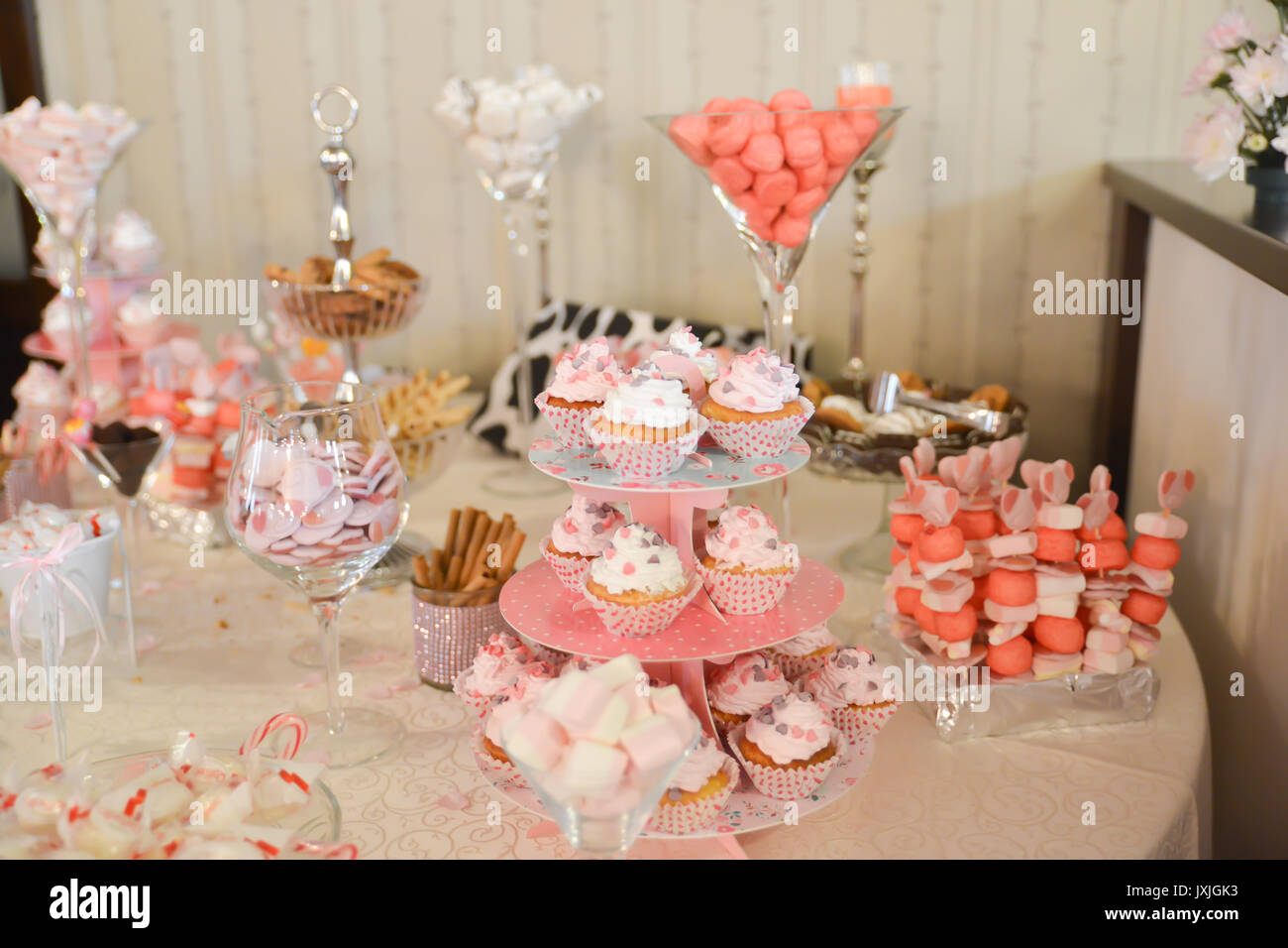Candy Barsweets Arrangements For Wedding Reception Stock Photo