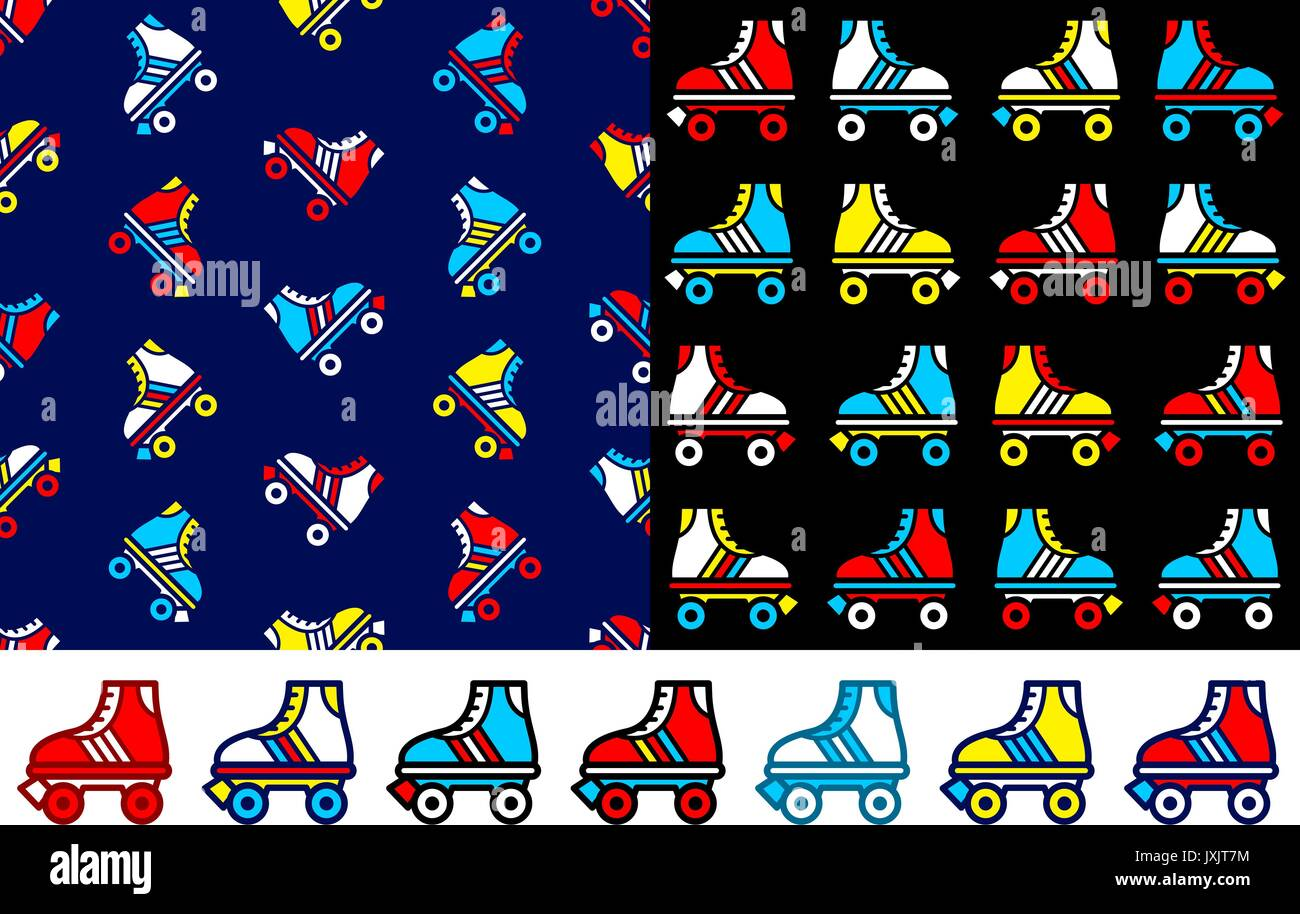 Roller skate seamless backround and icon set - Stock Image