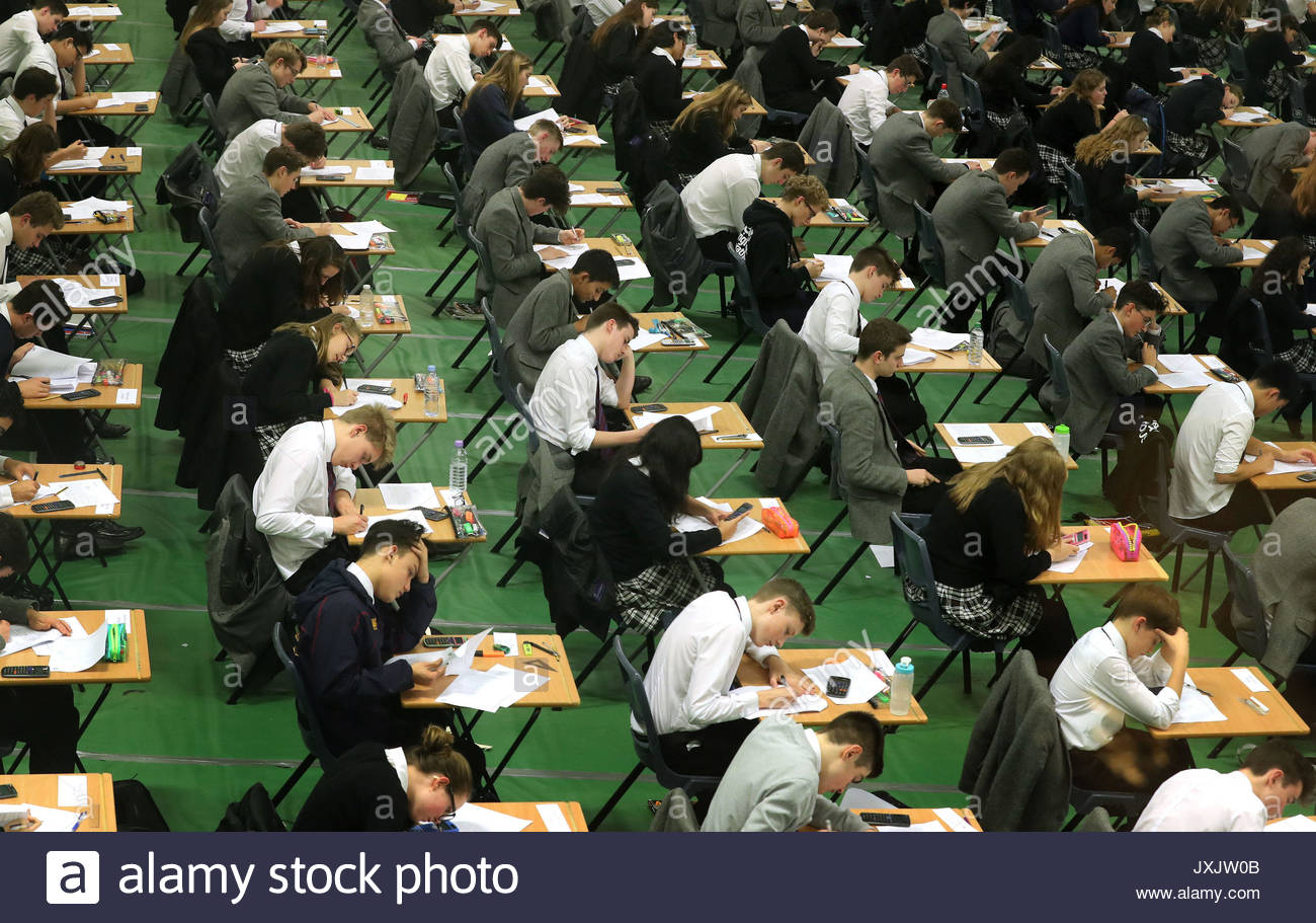 File photo dated 09/01/17 of students sitting an exam. Rising numbers of young people are seeking help due to worries about getting their exam results. - Stock Image