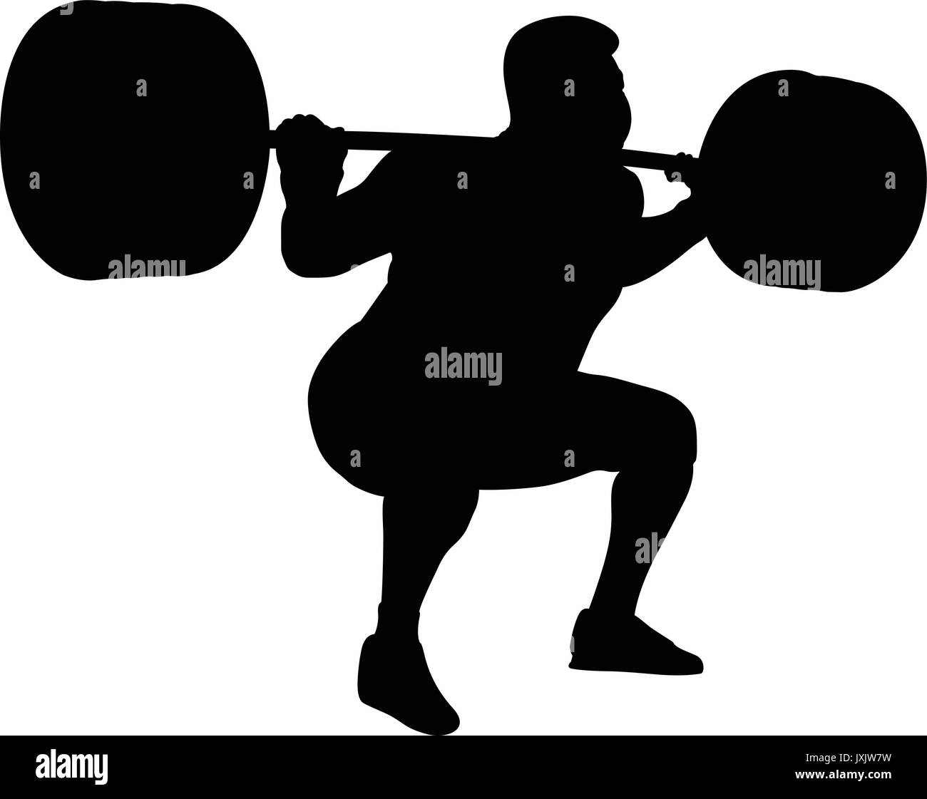 Male Powerlifter Competition In Powerlifting Black Silhouette
