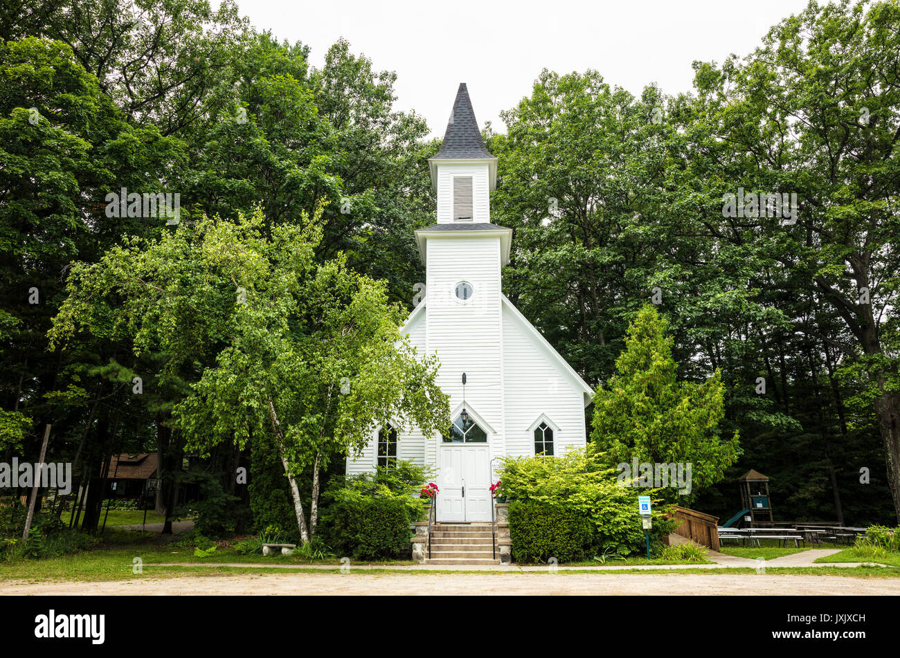 Old Mission Congregational Church on Old Mission Peninsula near Traverse City, Michigan, USA Stock Photo